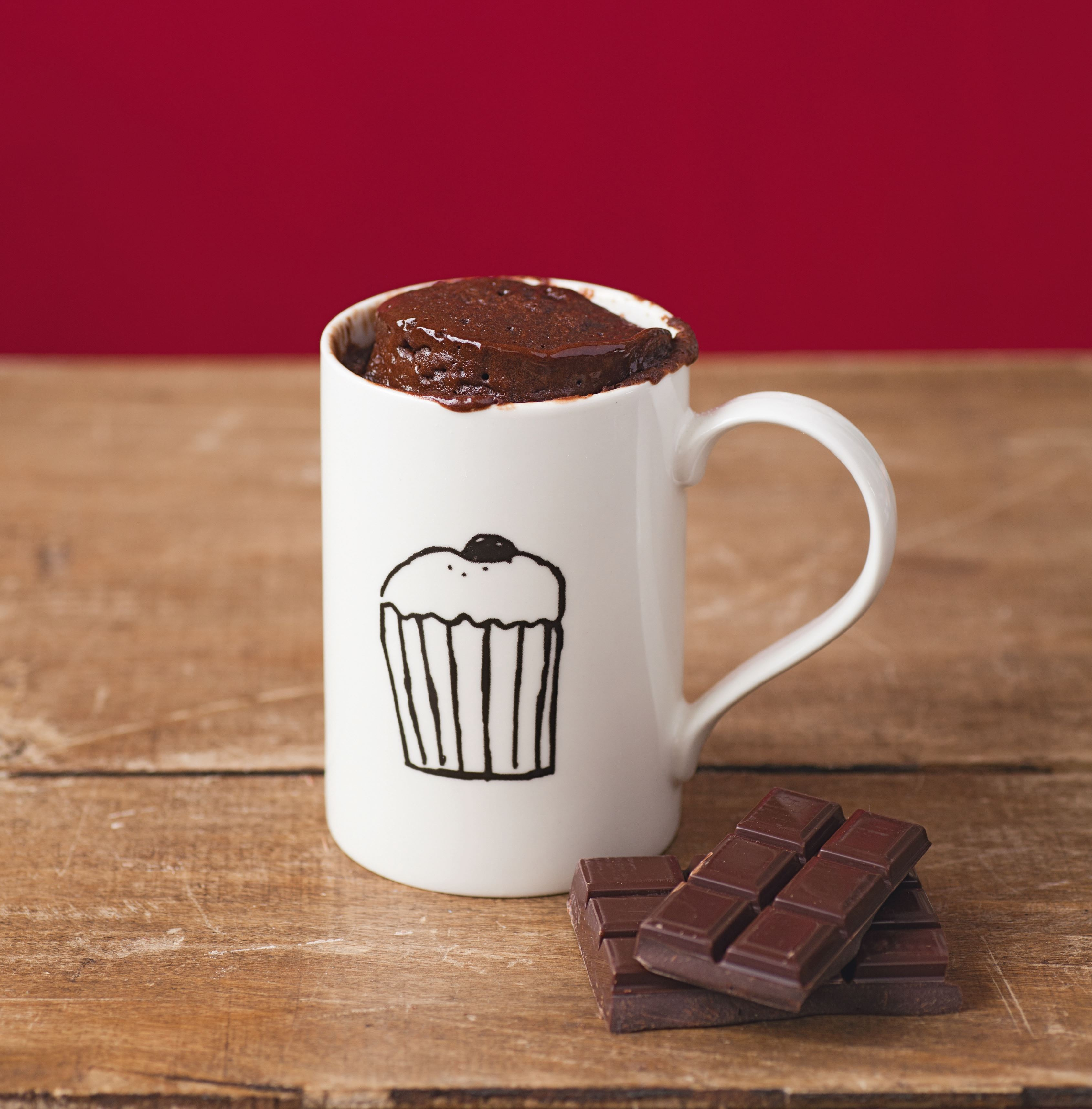 Dark chocolate fondant mug cake