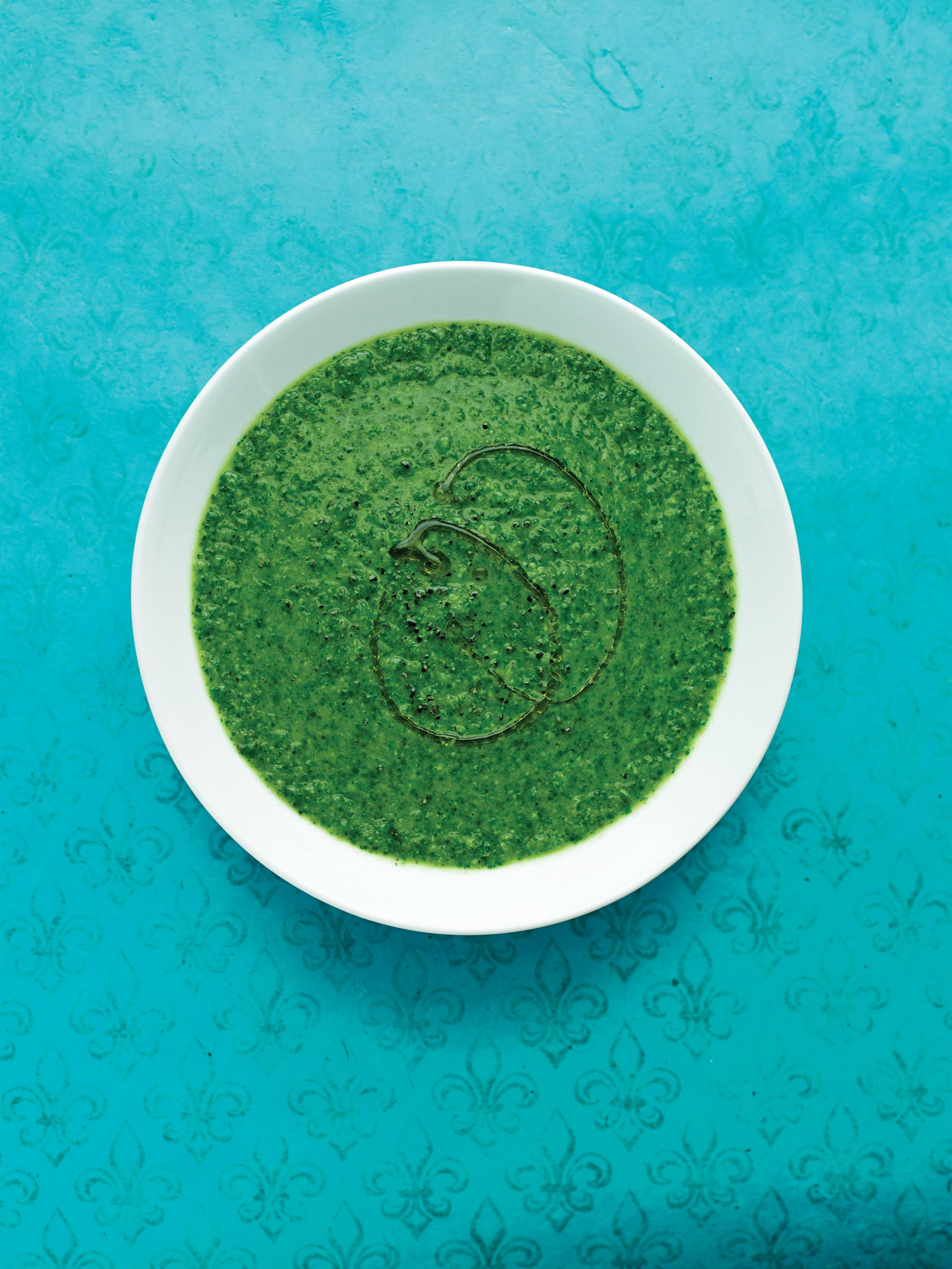 Minted green garden soup