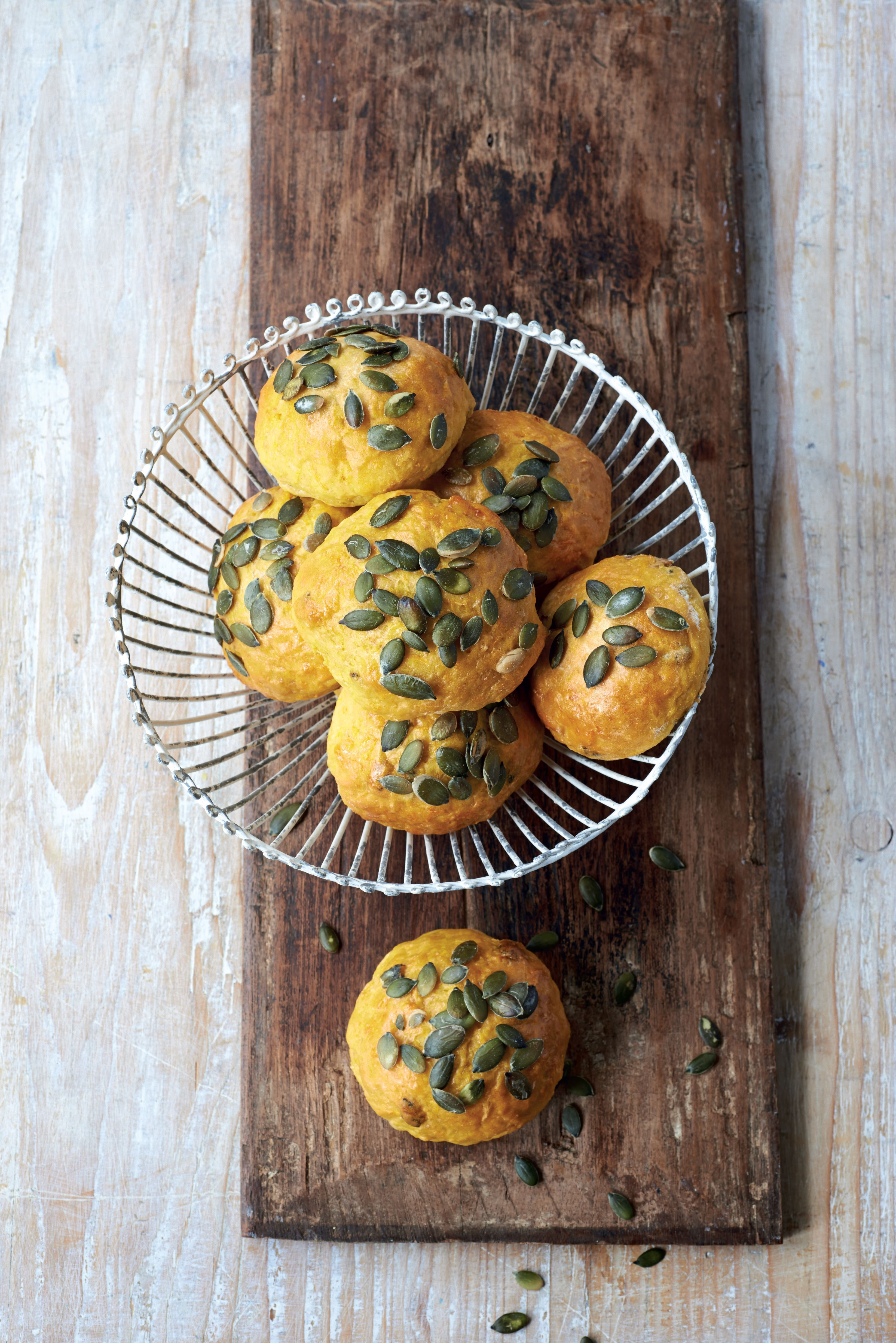 Sweet potato and pumpkin seed rolls