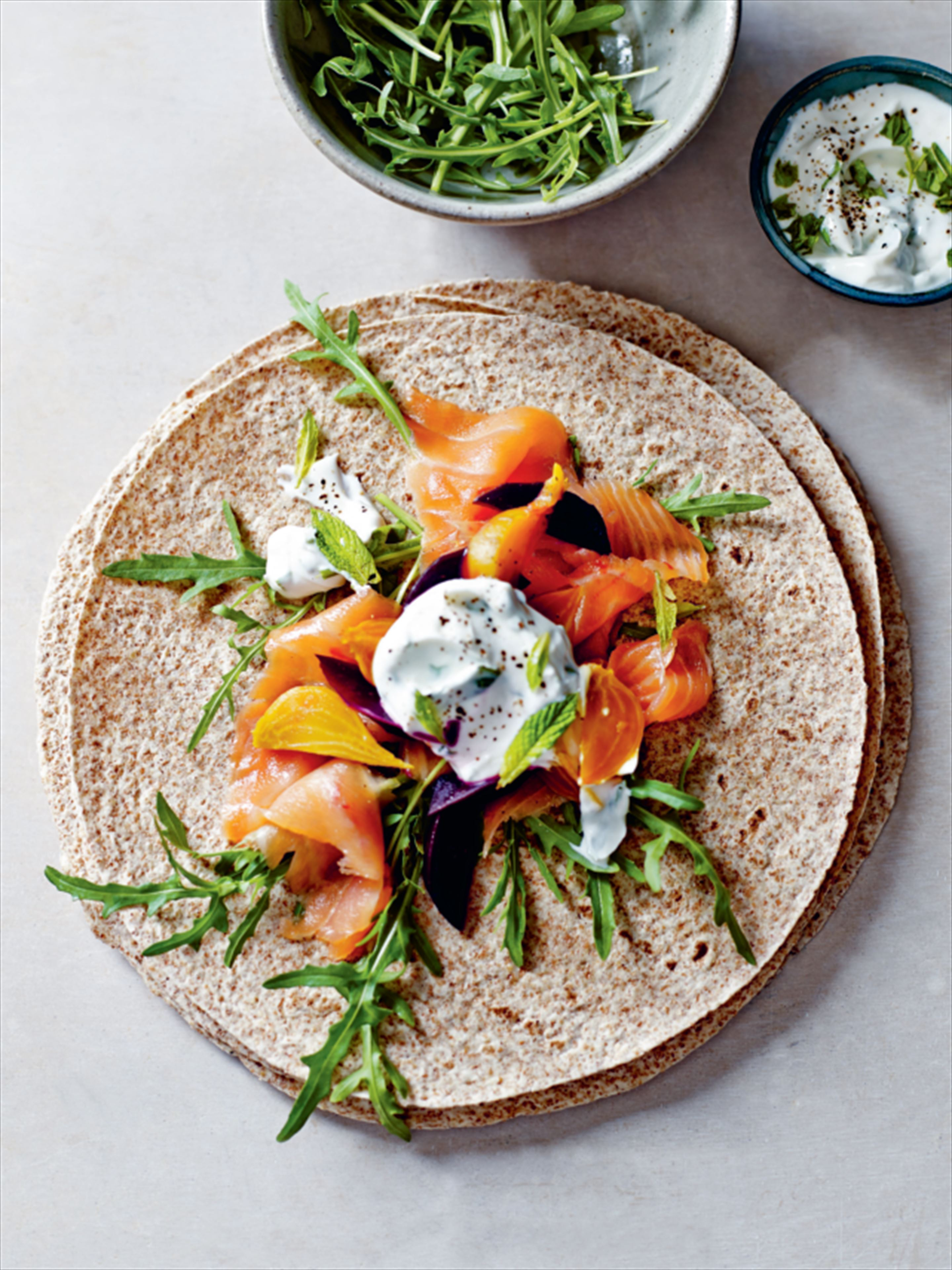 Smoked salmon, beetroot and minted yogurt wrap