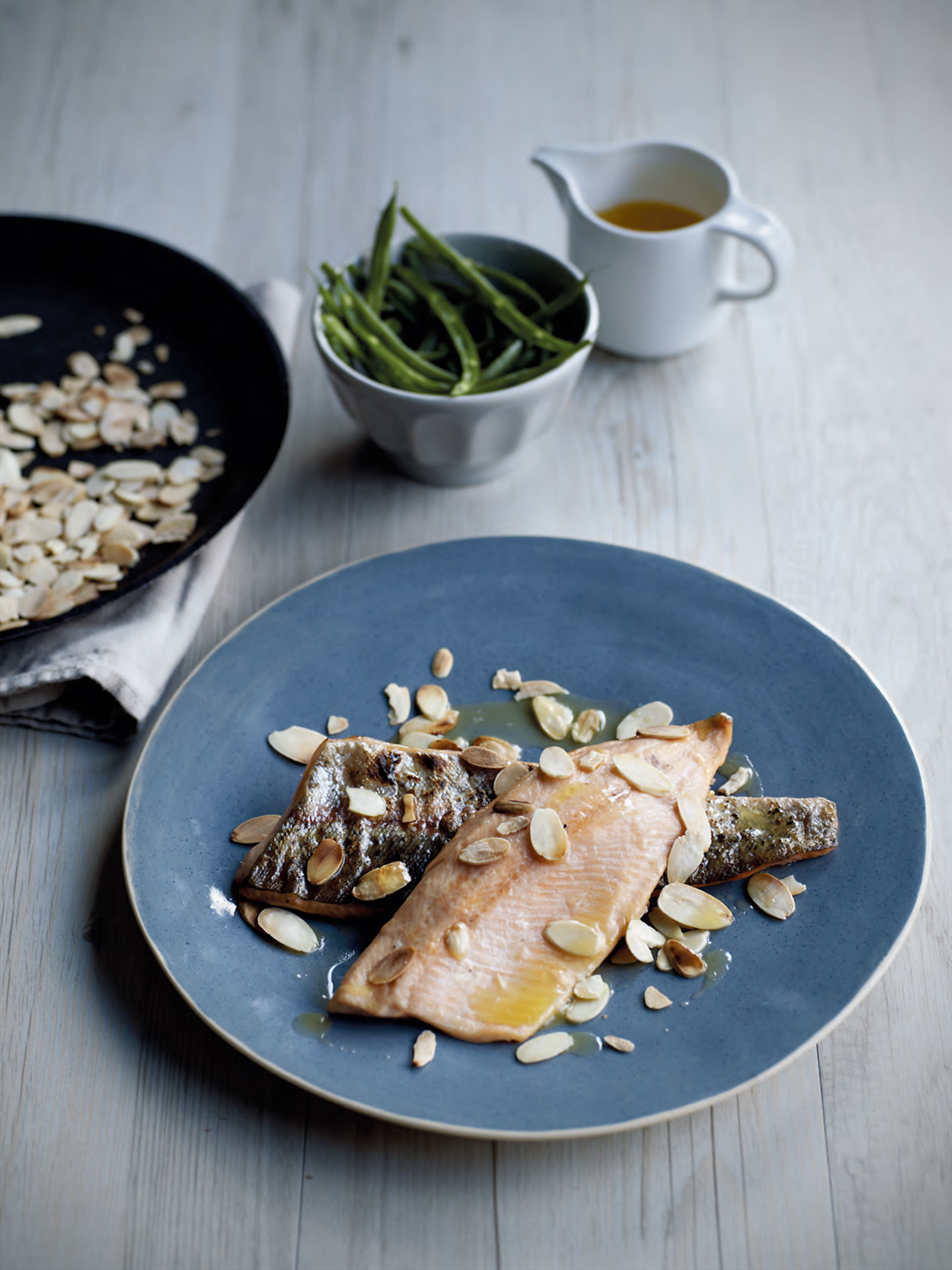 Trout with green beans, almonds & brown butter