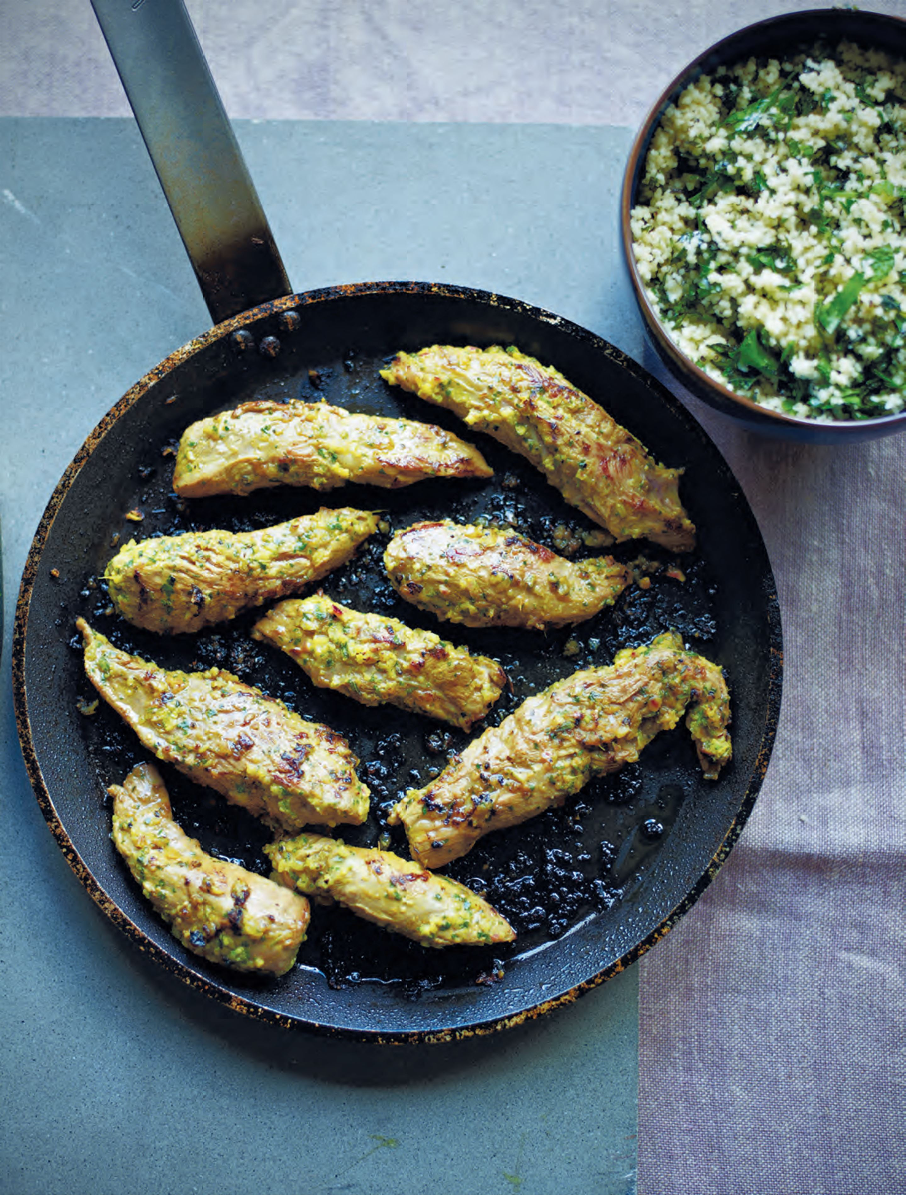 Pan-fried lamb with chermoula & herb couscous