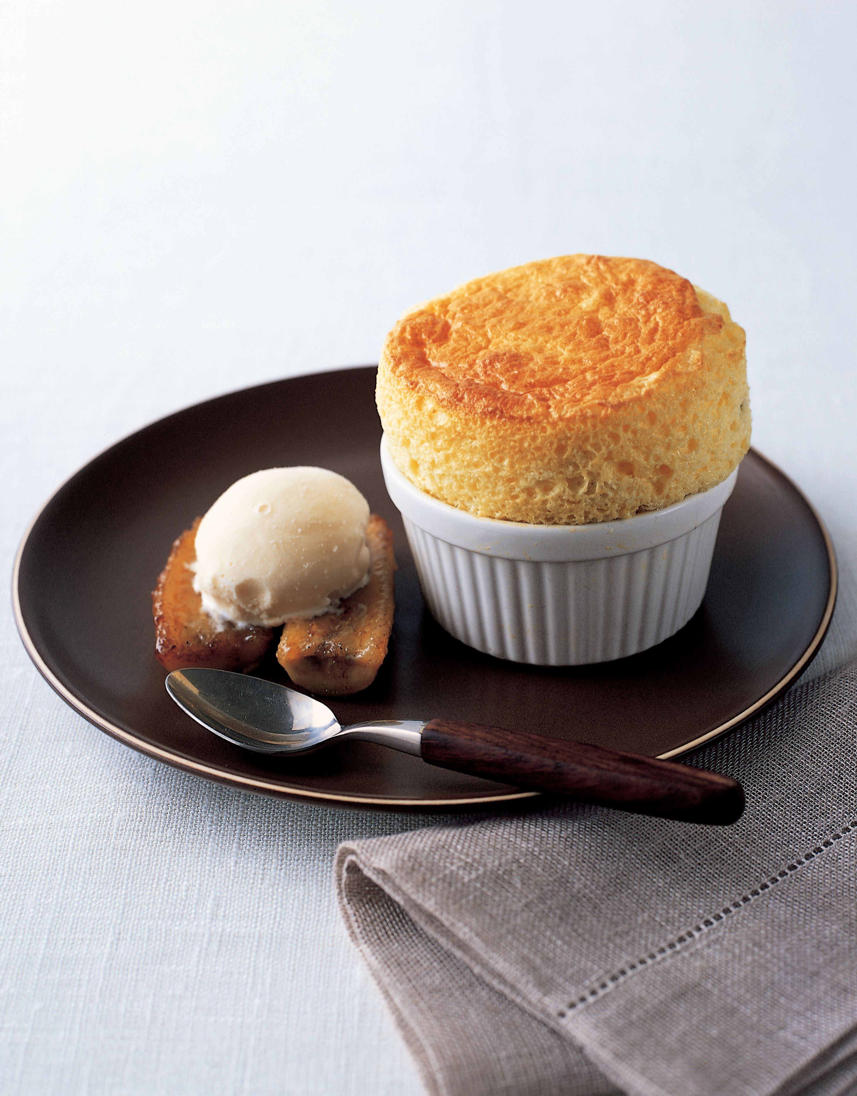 Passion fruit and custard soufflé