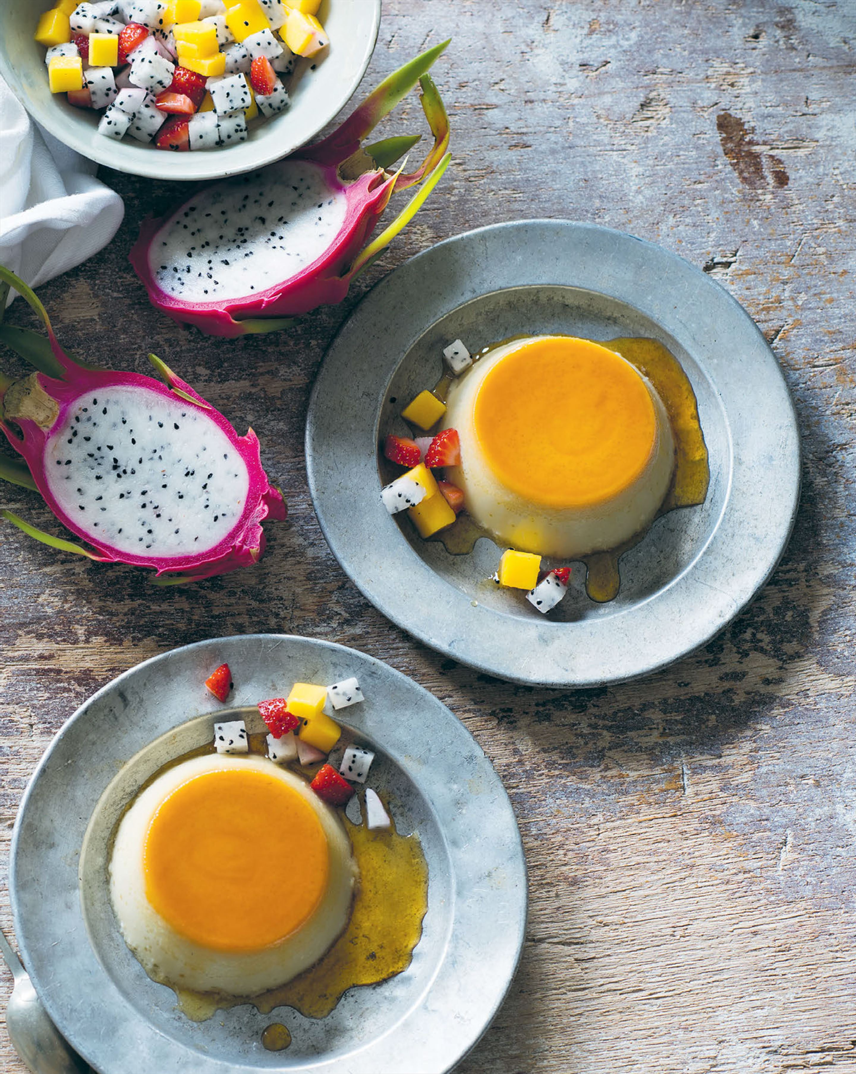 Coconut crème caramel with tropical fruits