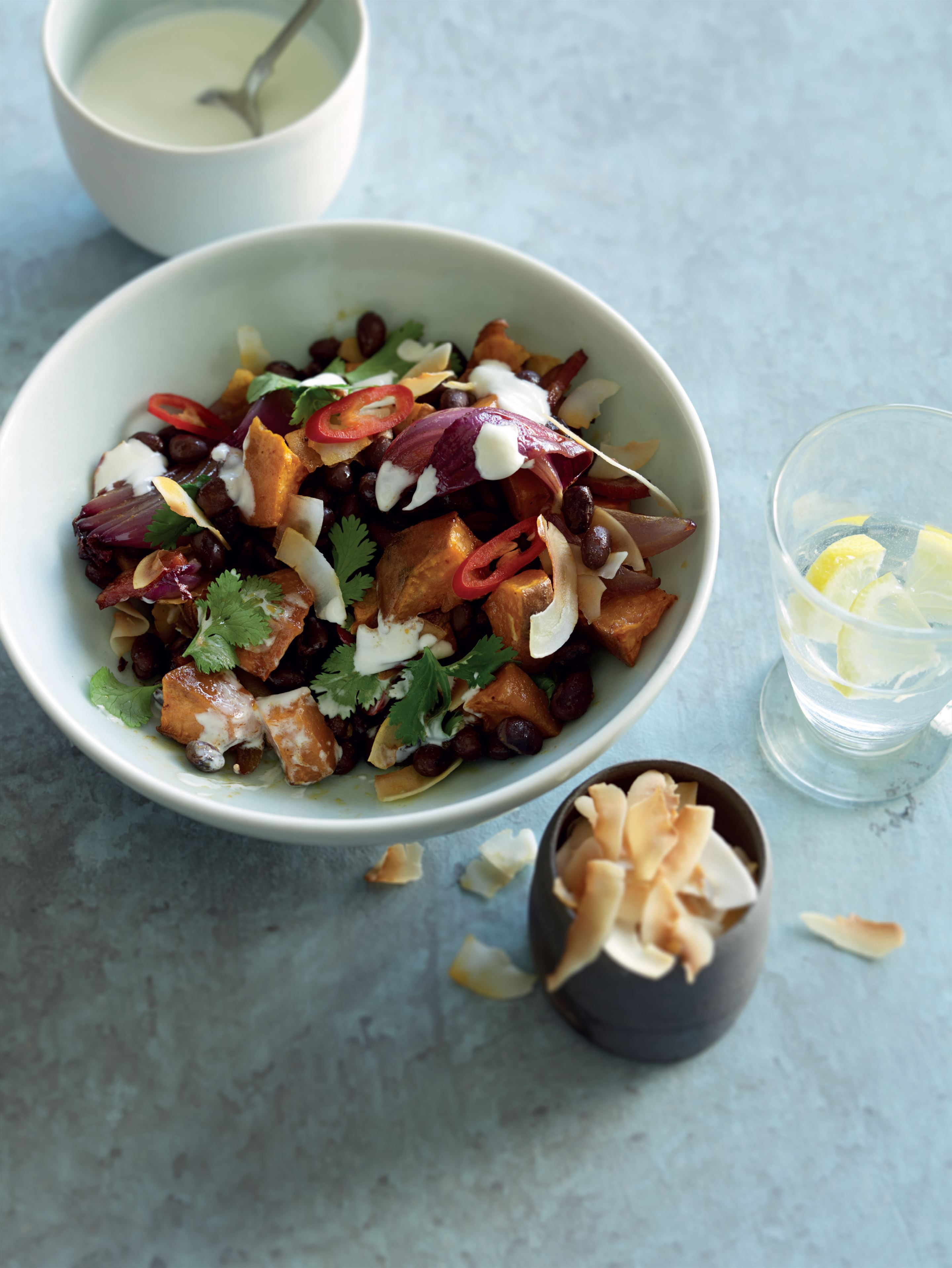 Black bean, chorizo, sweet potato and coconut bowl