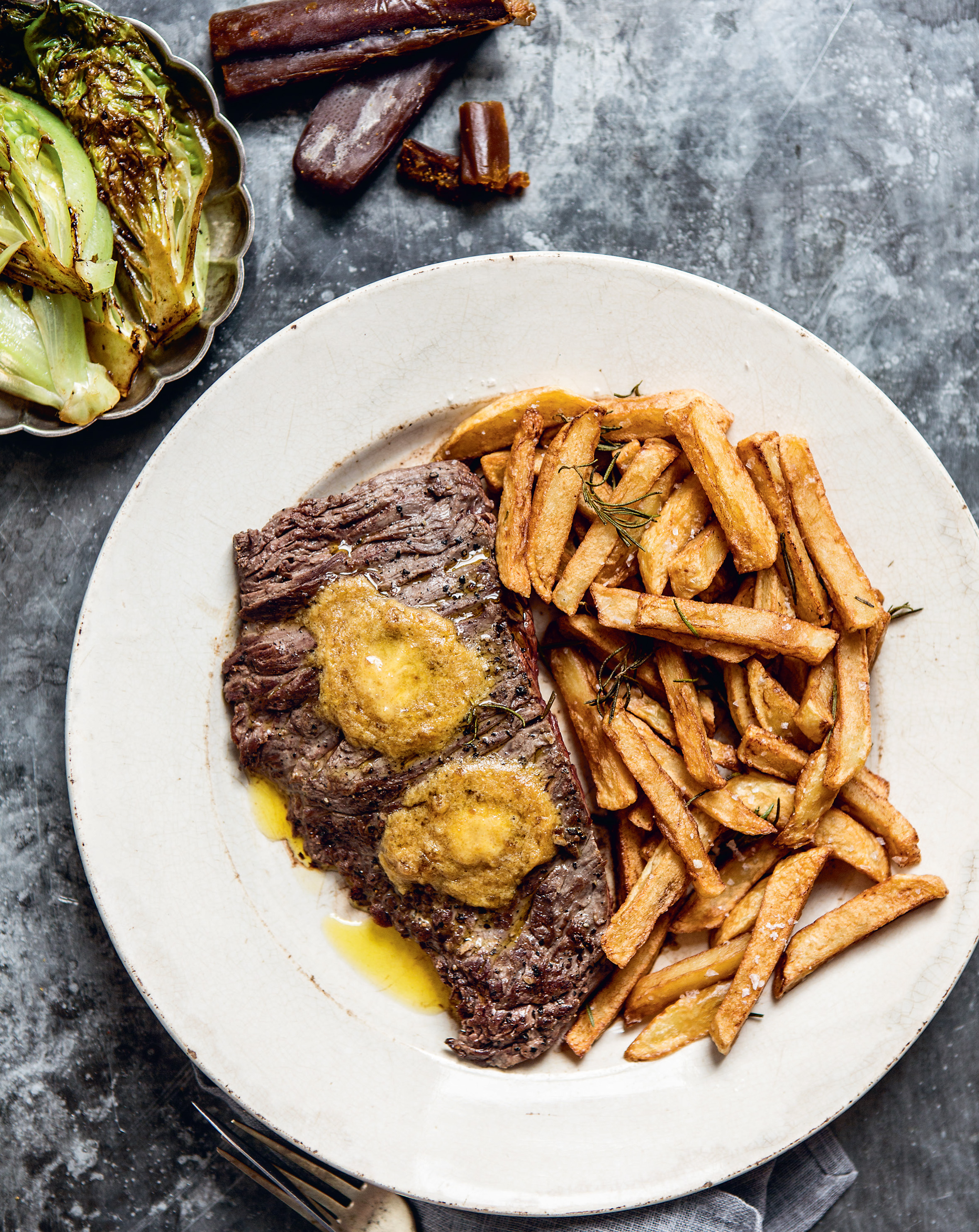Bavette + chips with bottarga butter + grilled baby gem