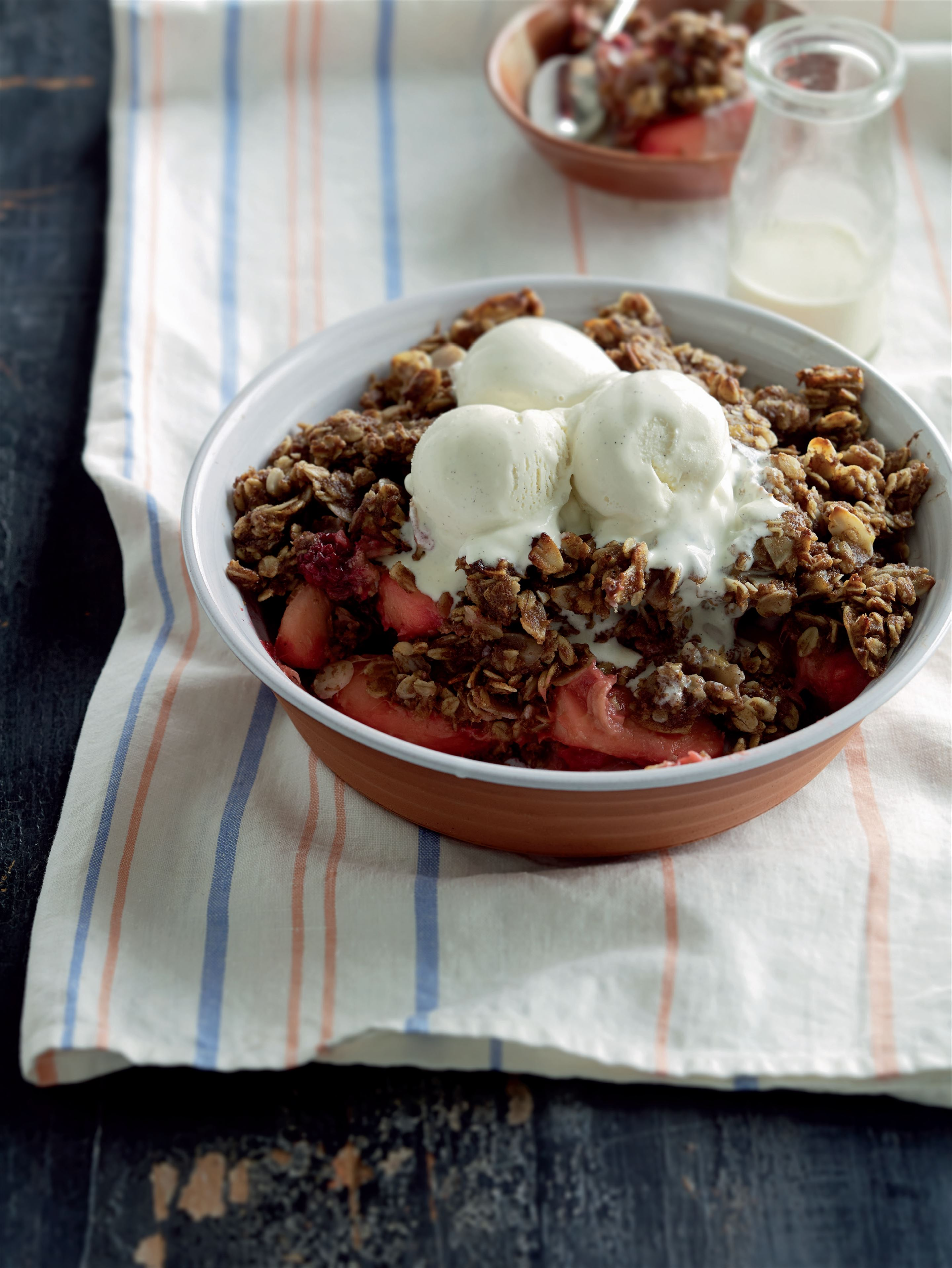 Rhubarb, apple and berry slow crumble