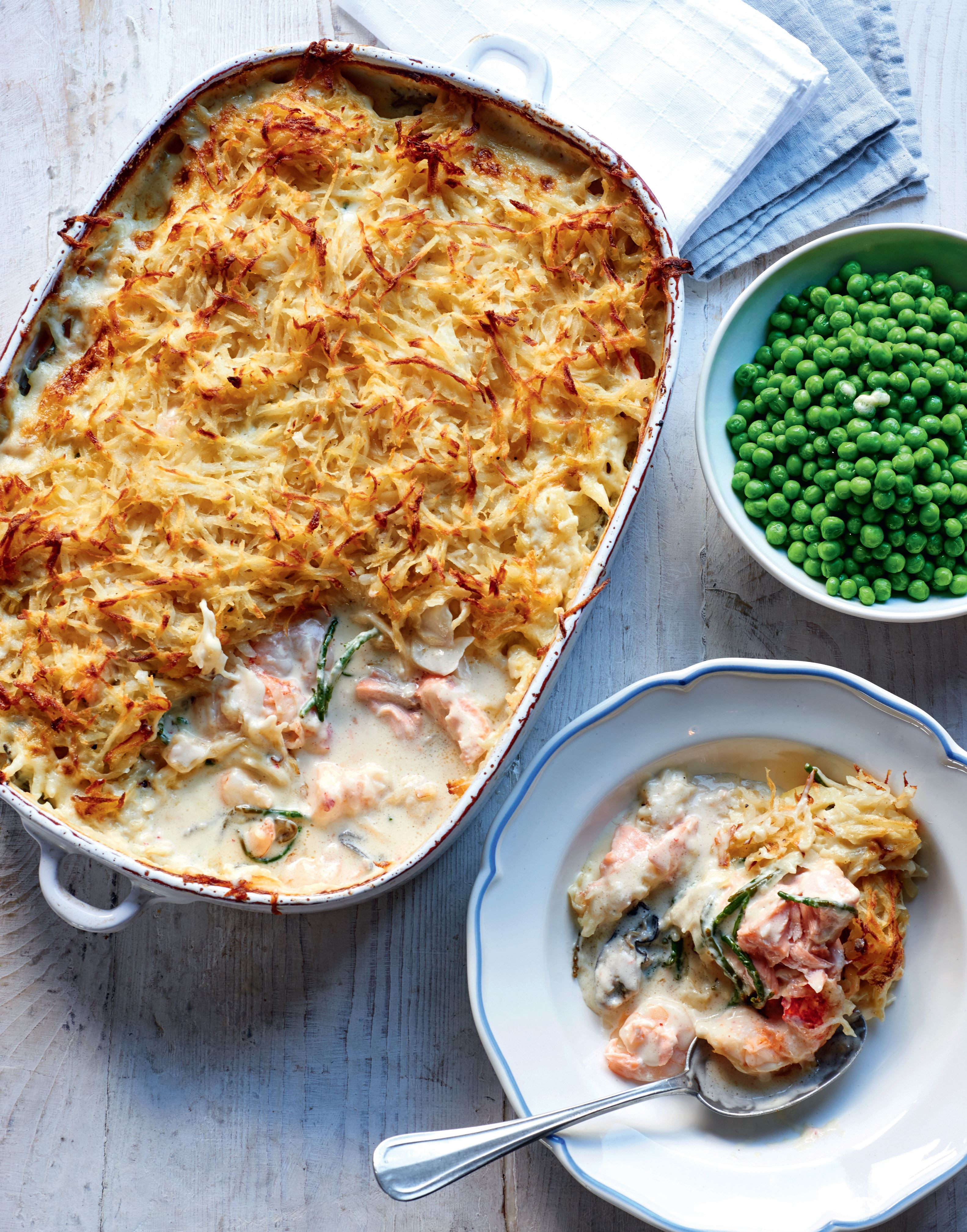 Oyster and seafood pie with samphire