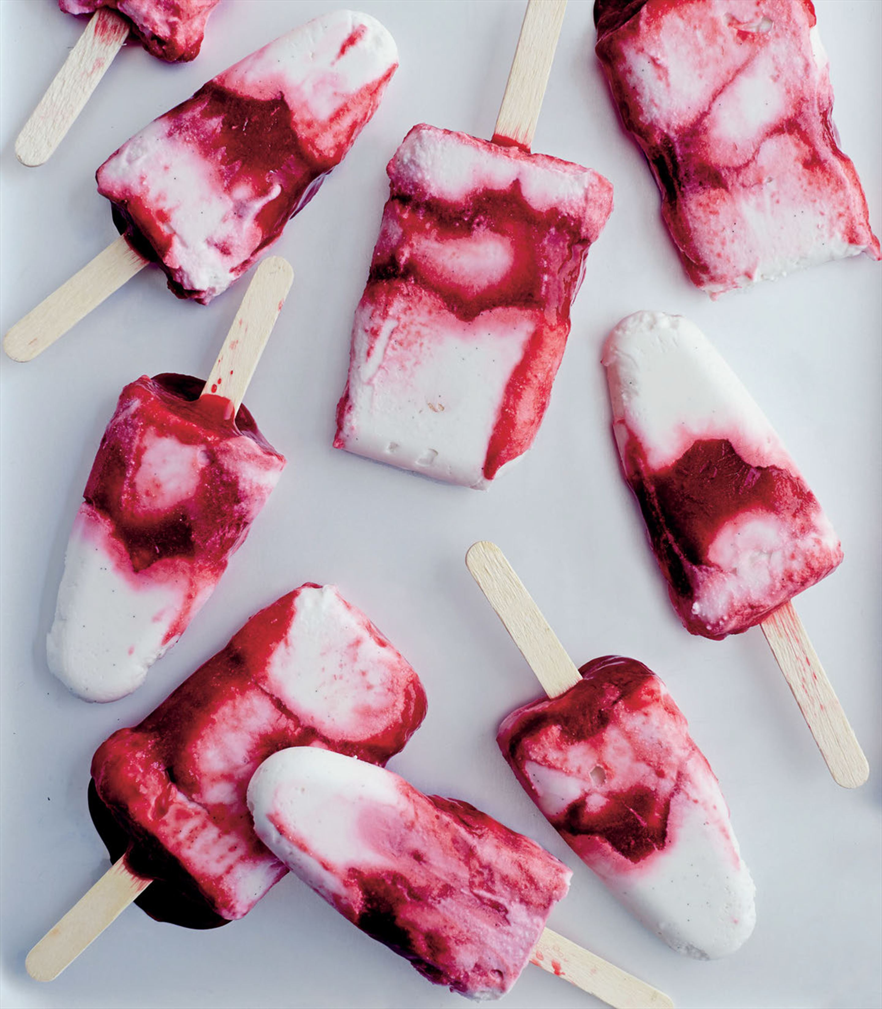 Raspberry coconut yoghurt pops