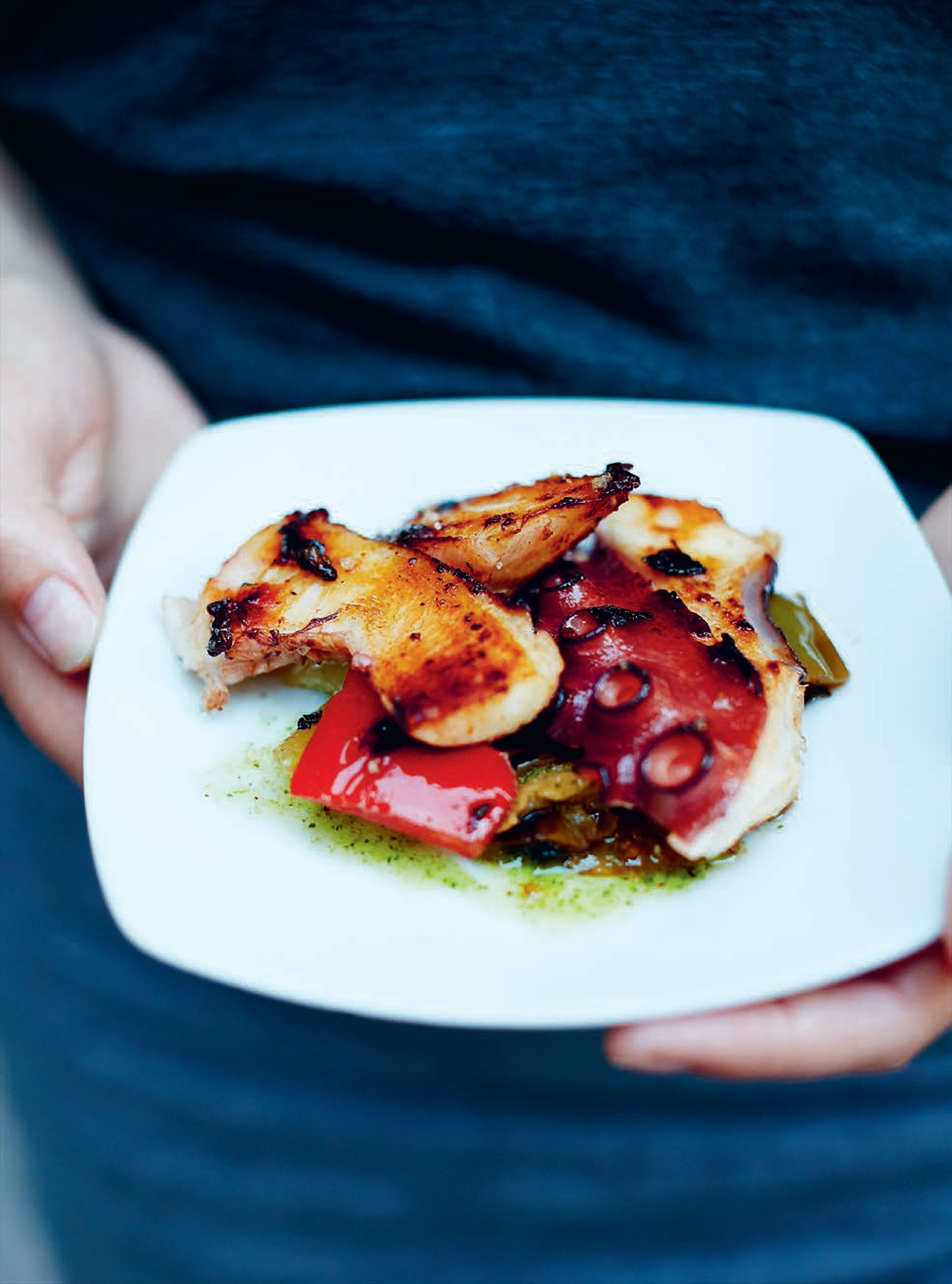Grilled octopus with peppers & aubergine