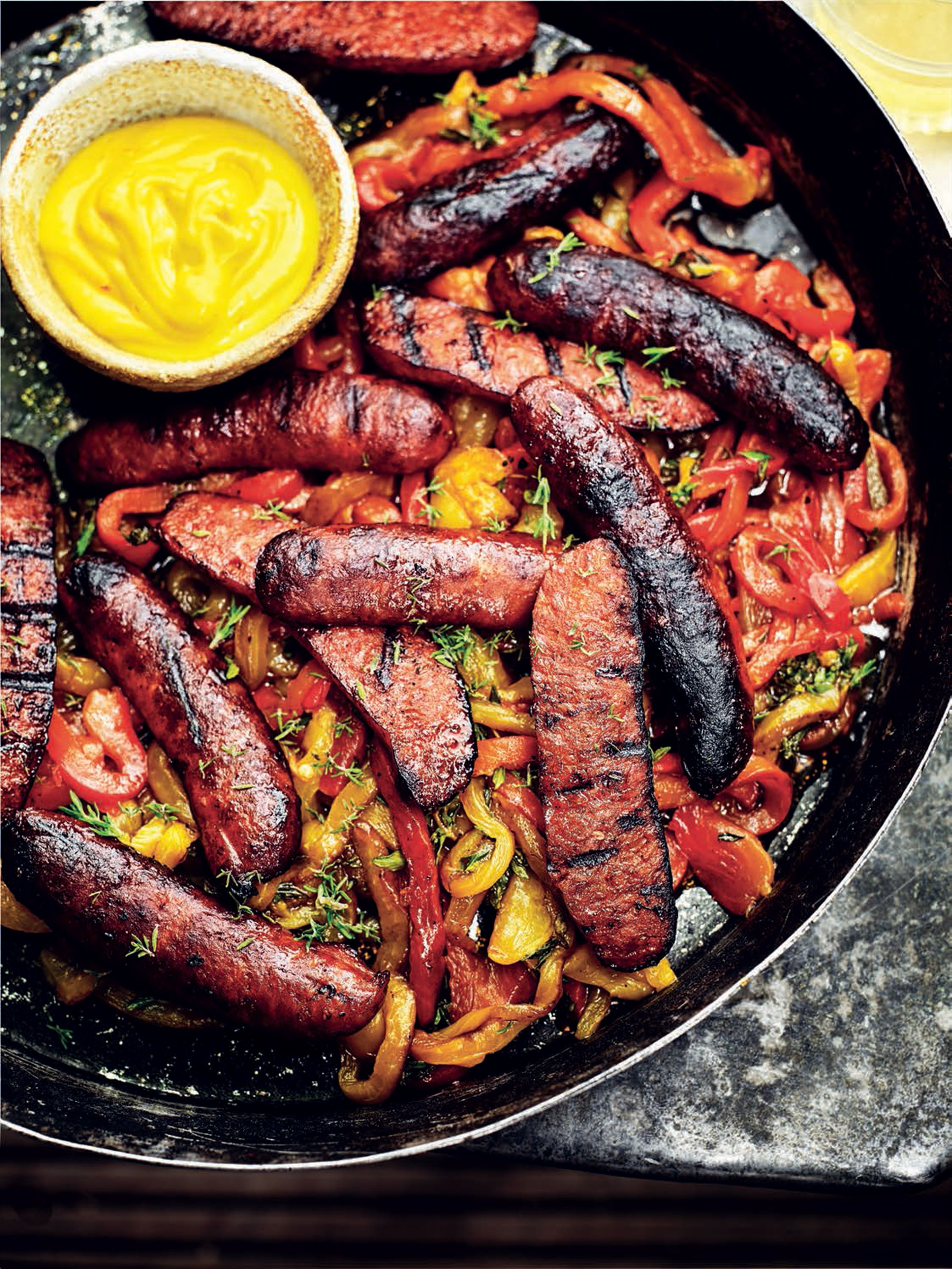 Smoked and grilled chorizo with roasted peppers and saffron alioli