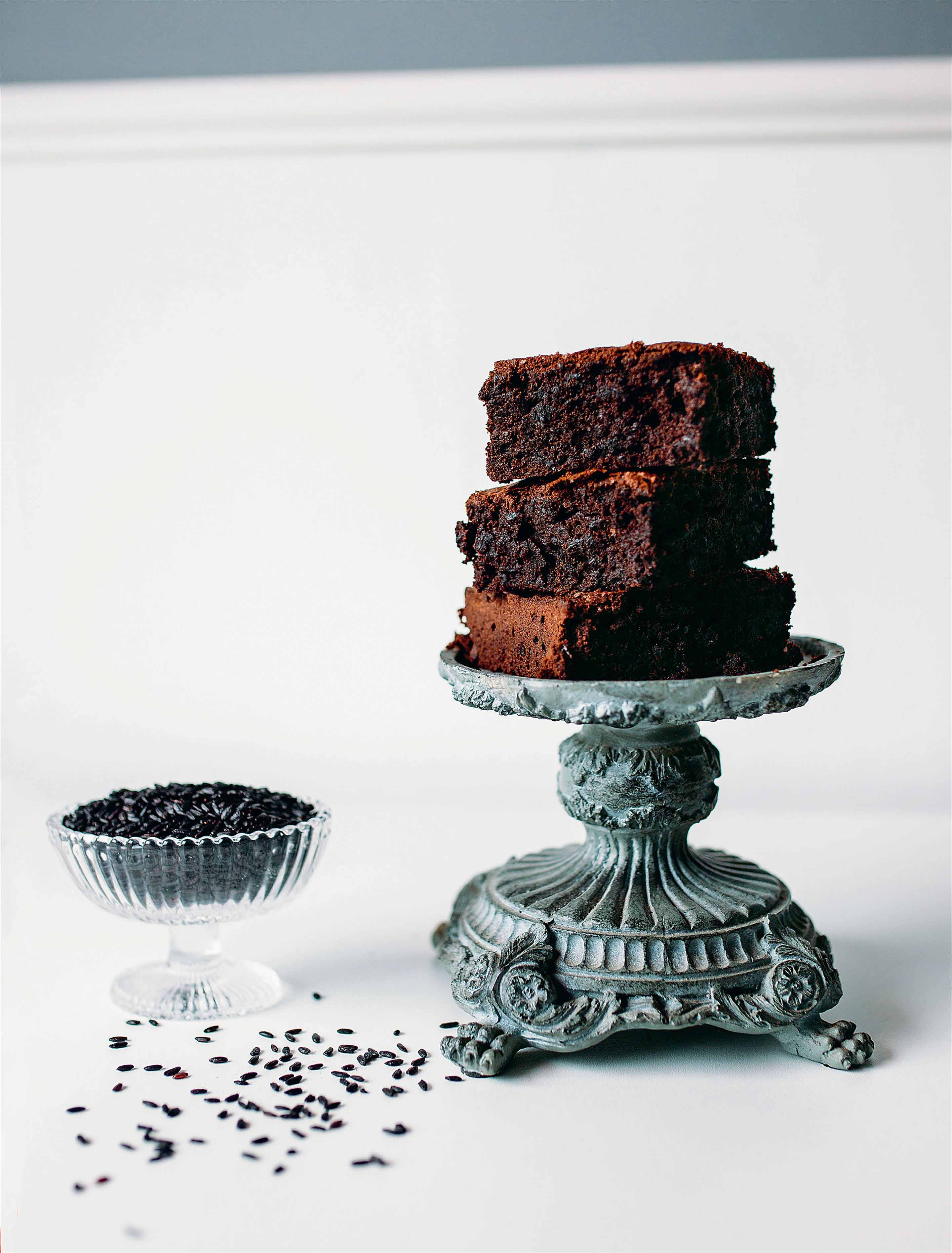 Brownies with black venere rice