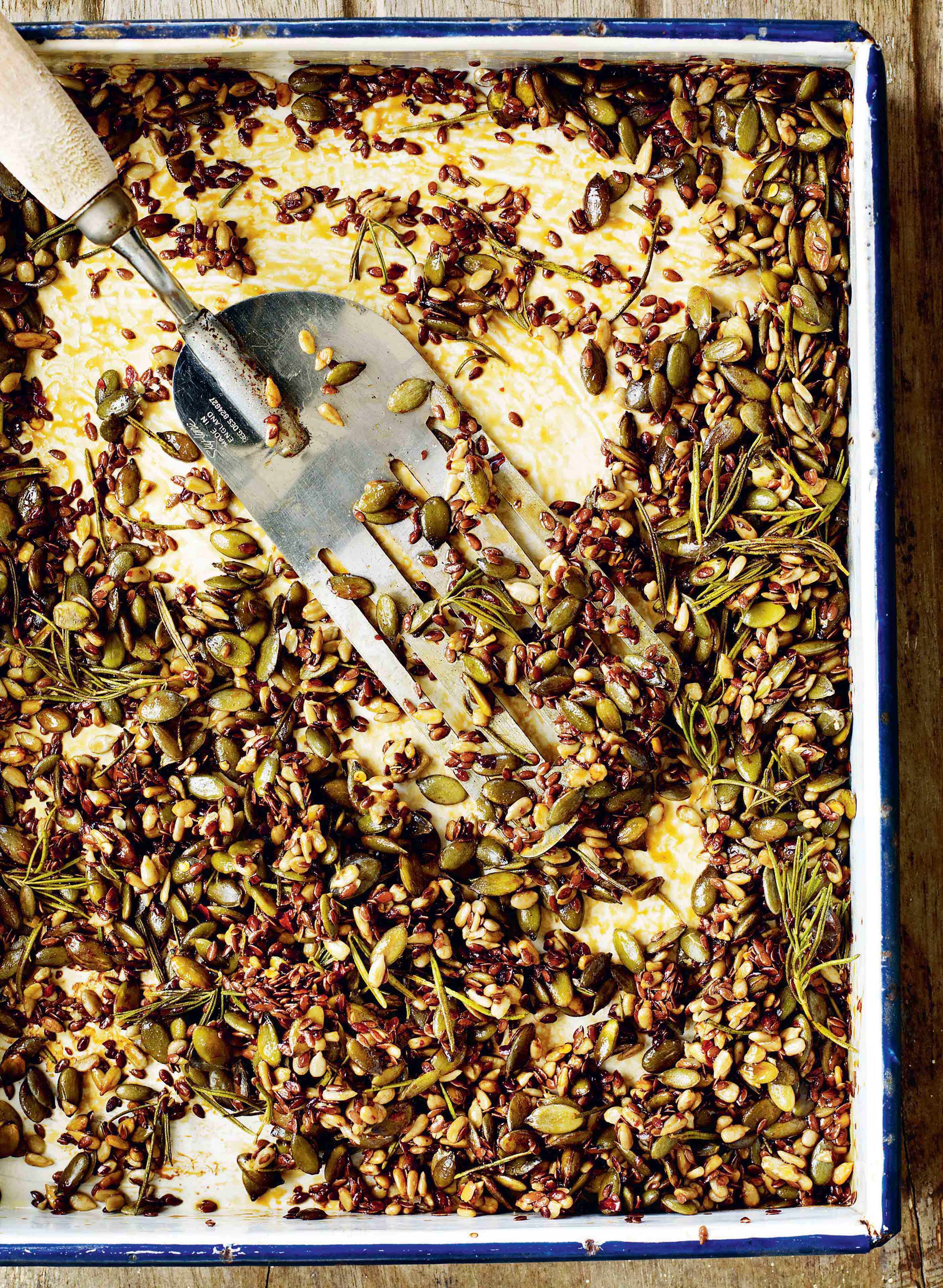 Honey-roast seeds with chilli, thyme & rosemary