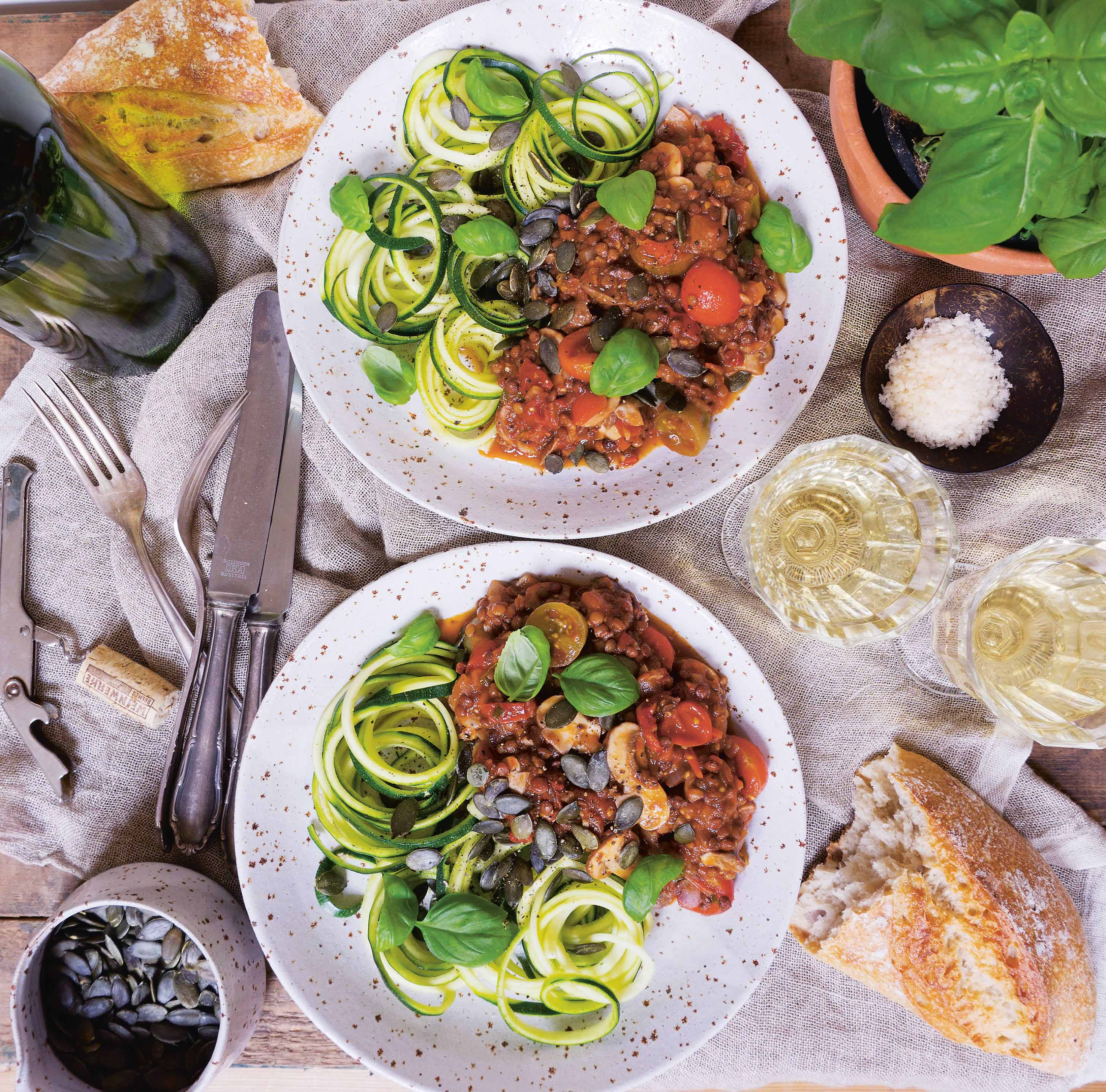 Spag bol with courgette zoodles