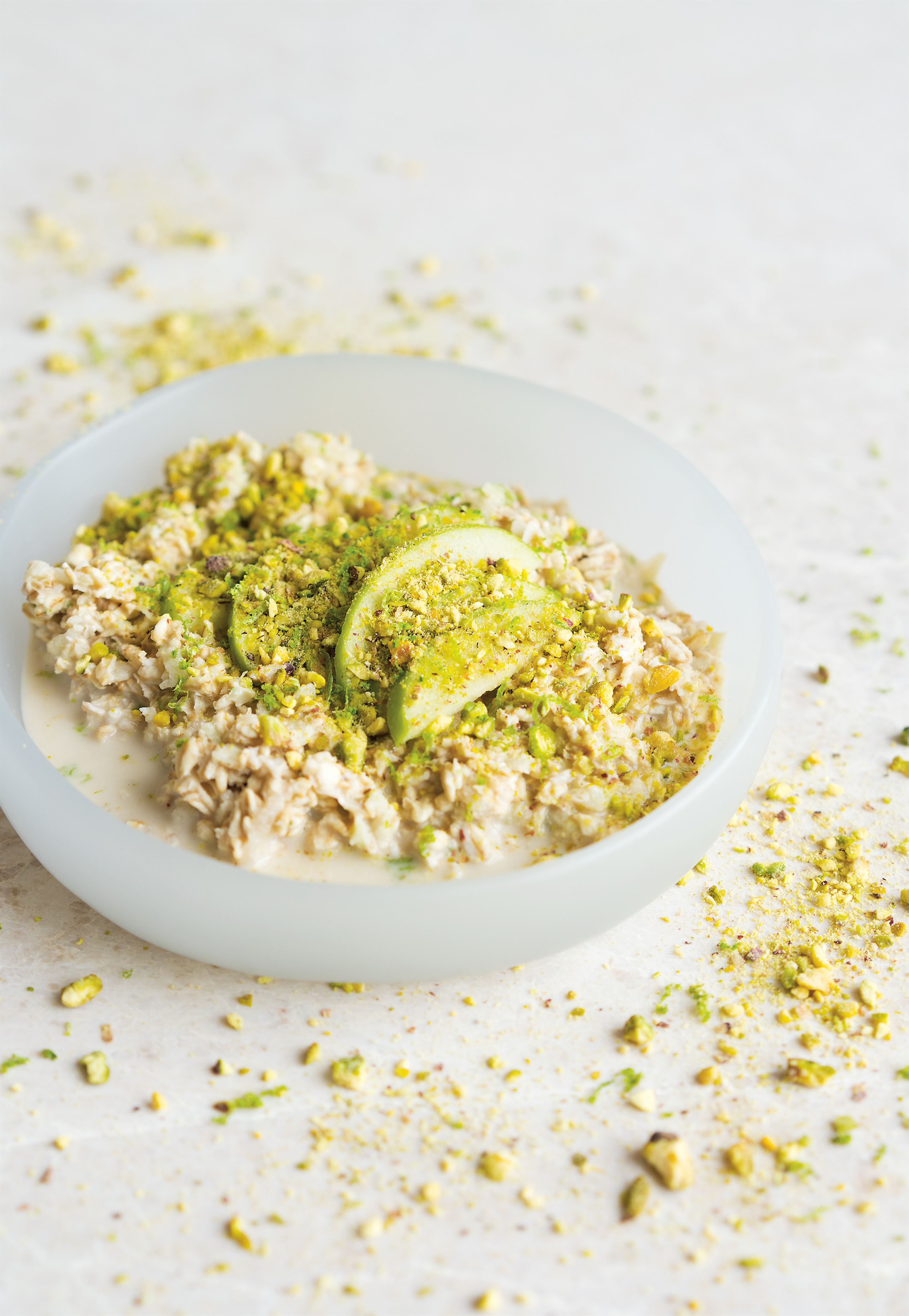 Green apple bircher with pistachios