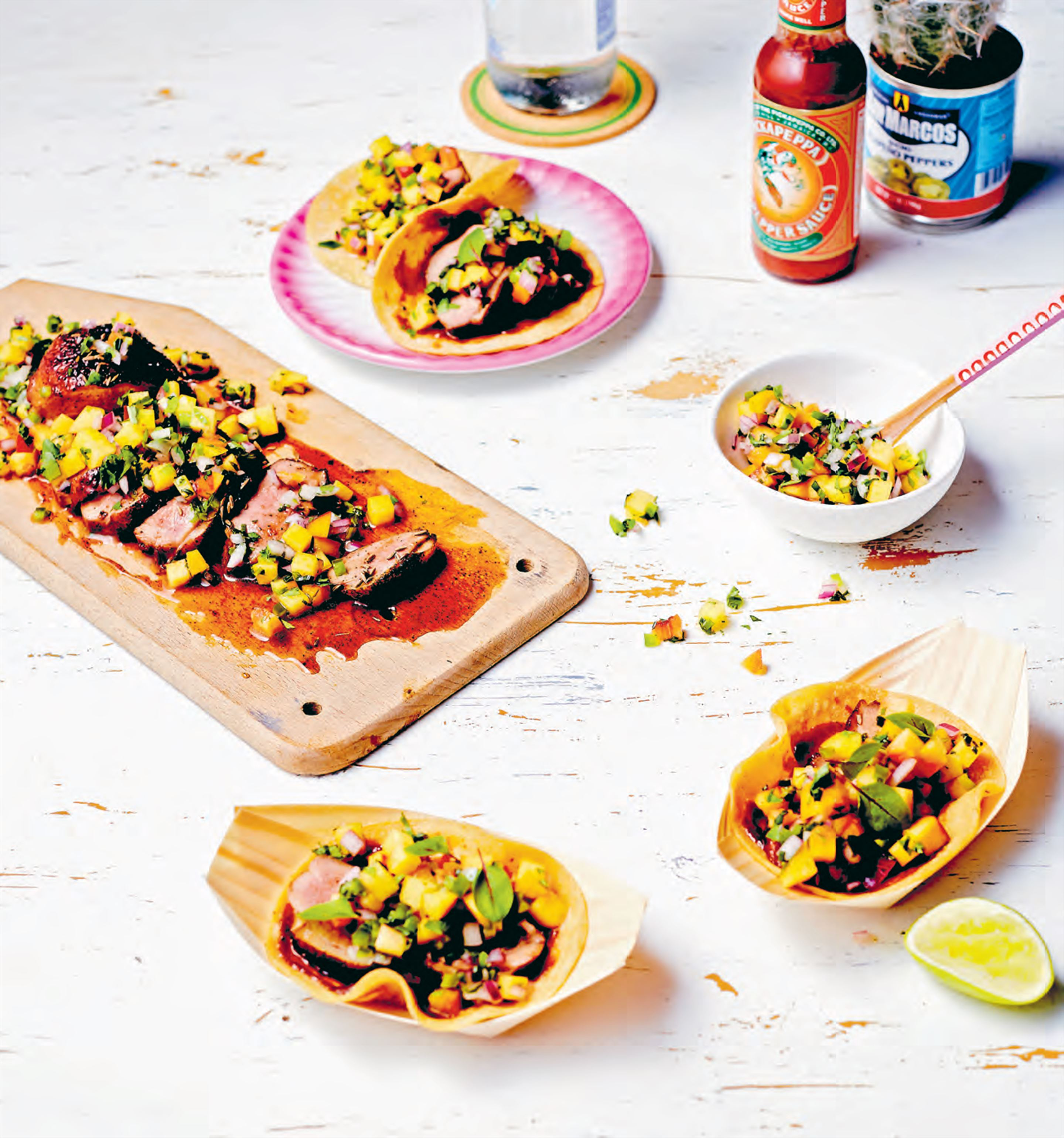 Duck breast tacos with nectarine pico de gallo