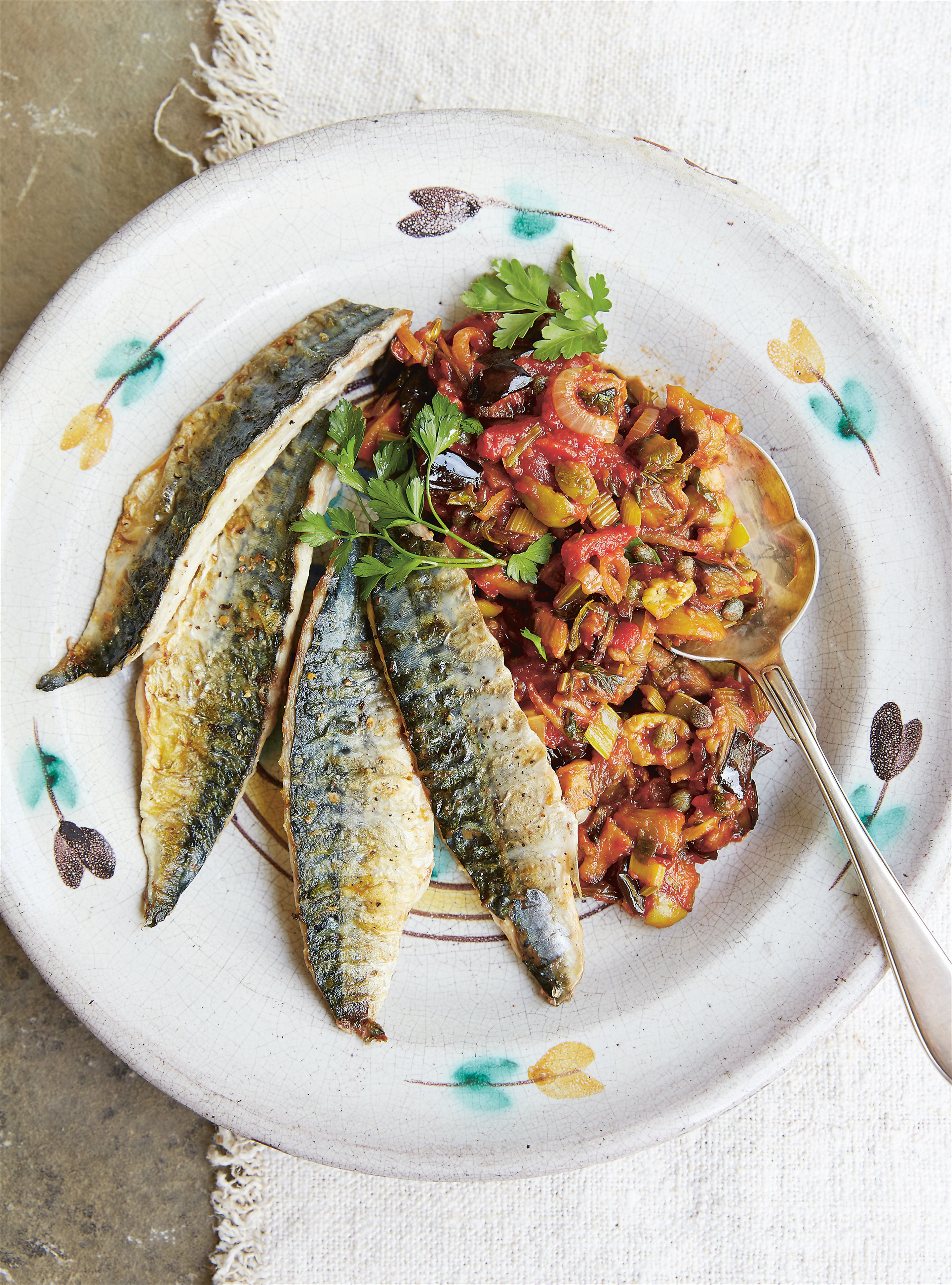 Griddled mackerel with caponata
