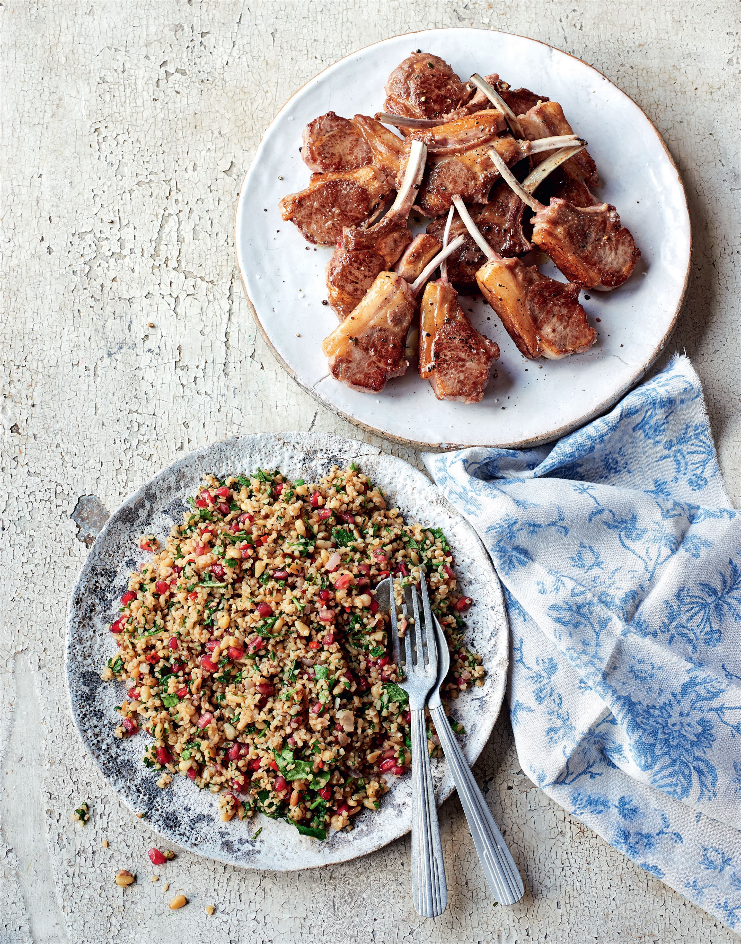 Griddled lamb cutlets with pine nut & pomegranate tabbouleh