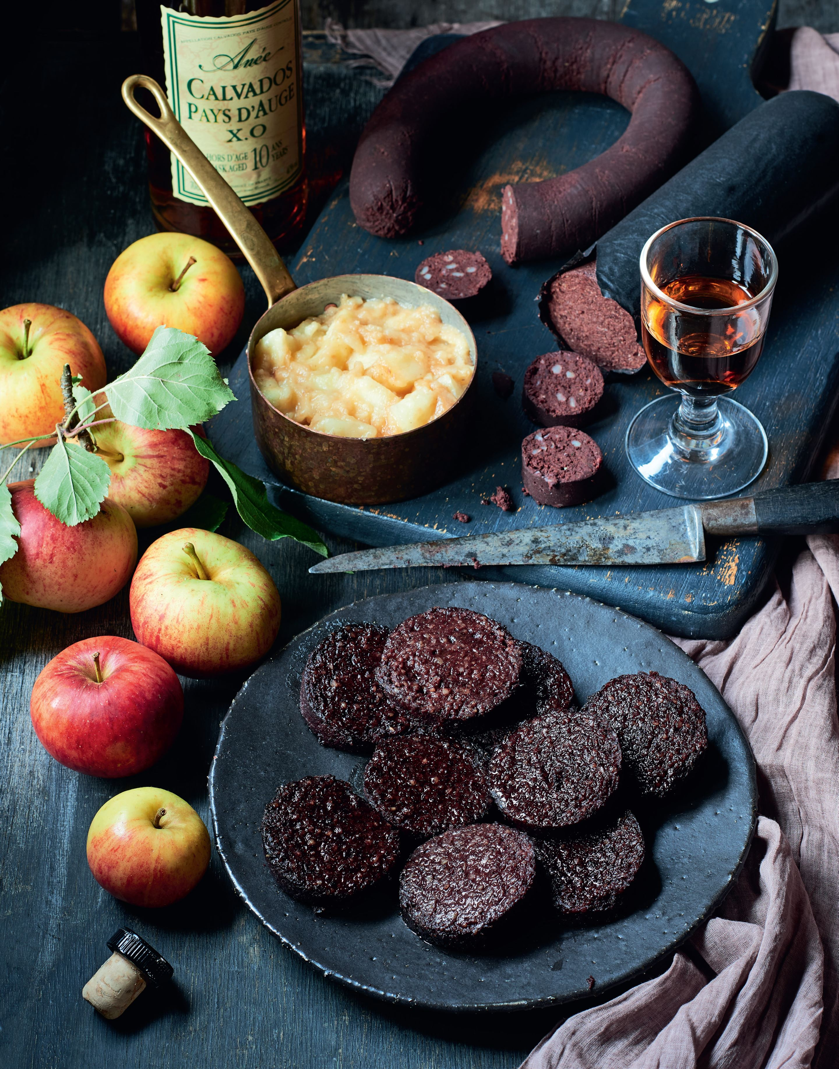 Black pudding with apples & Calvados