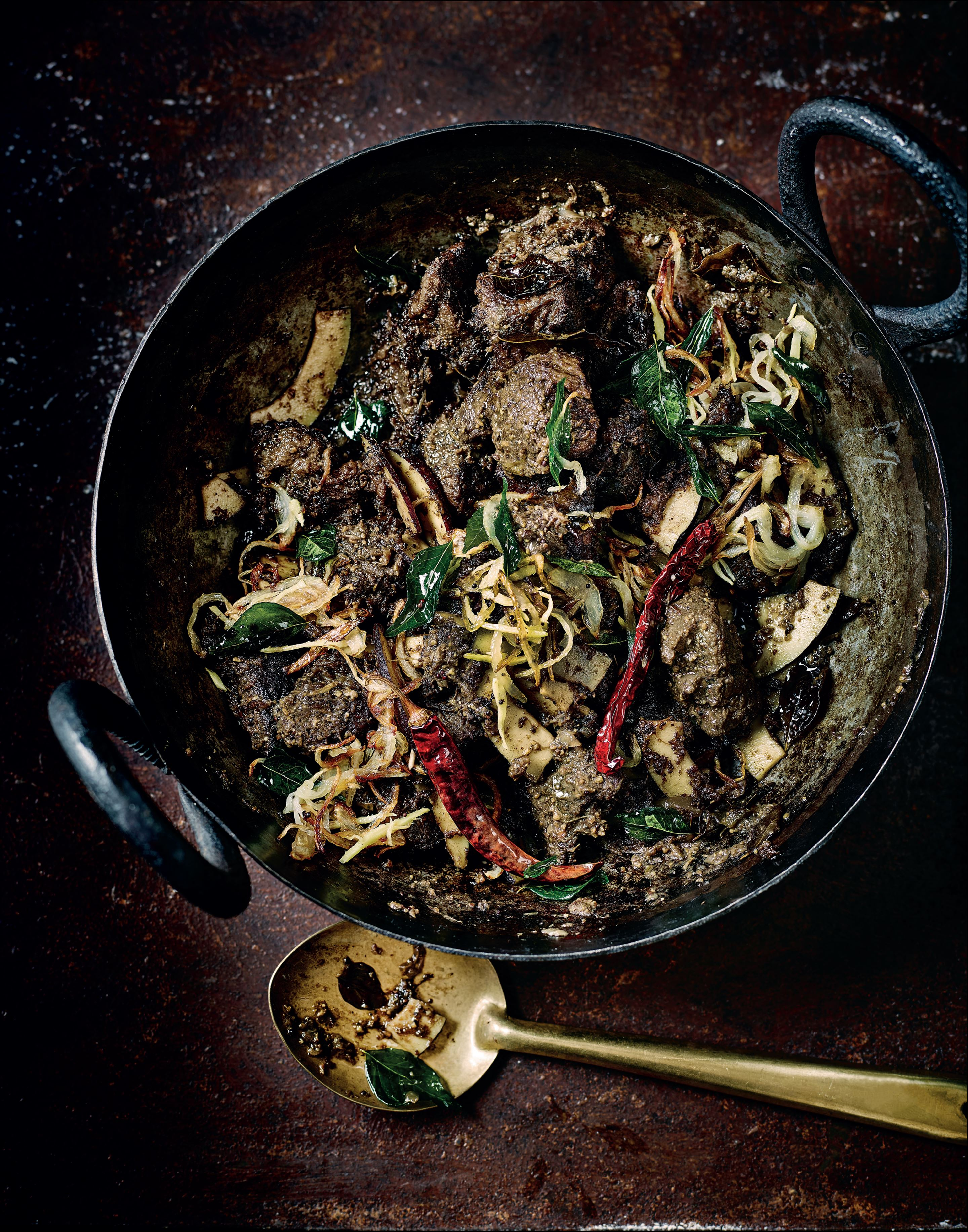 Malayali beef with coconut slivers