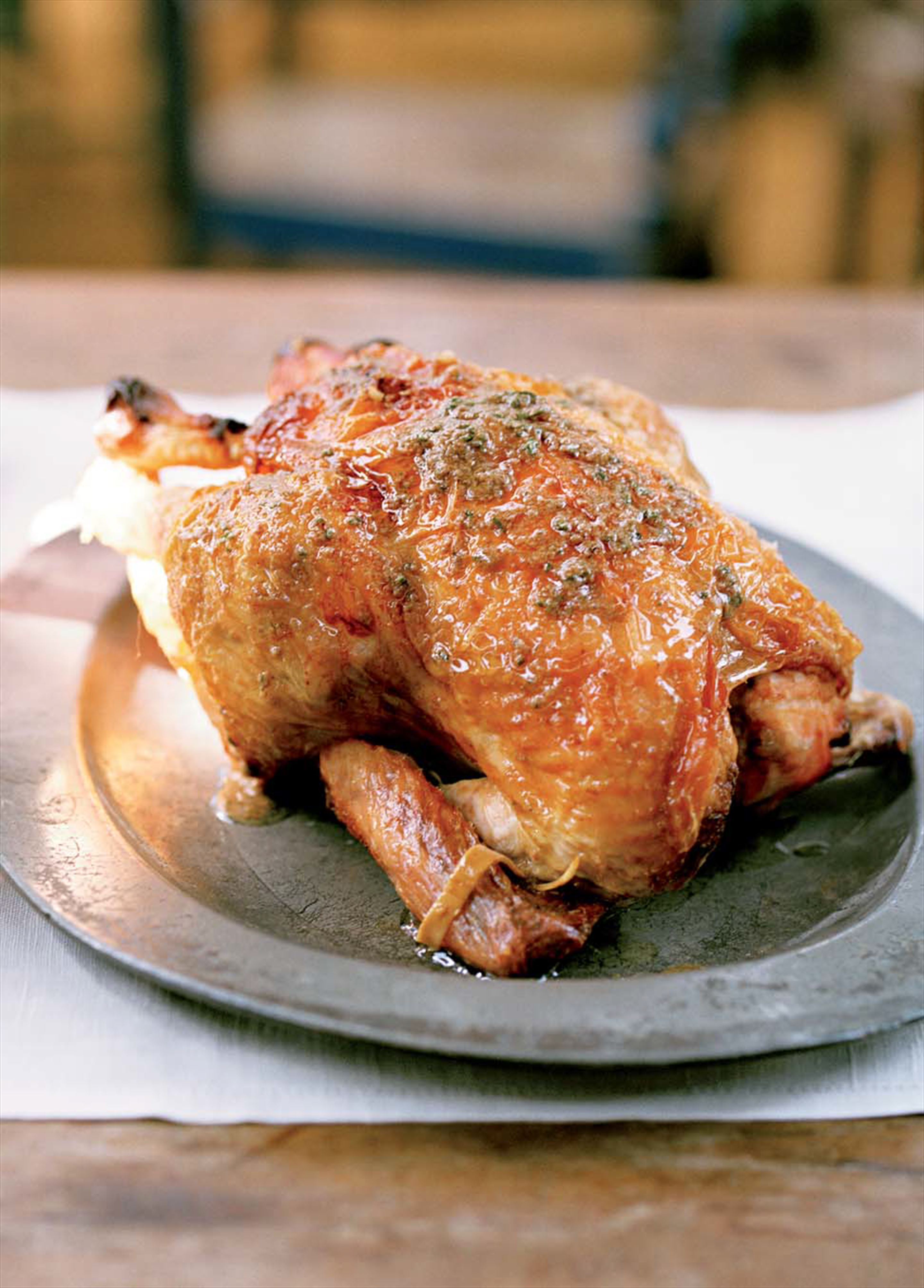 Roast chicken with anchovy butter