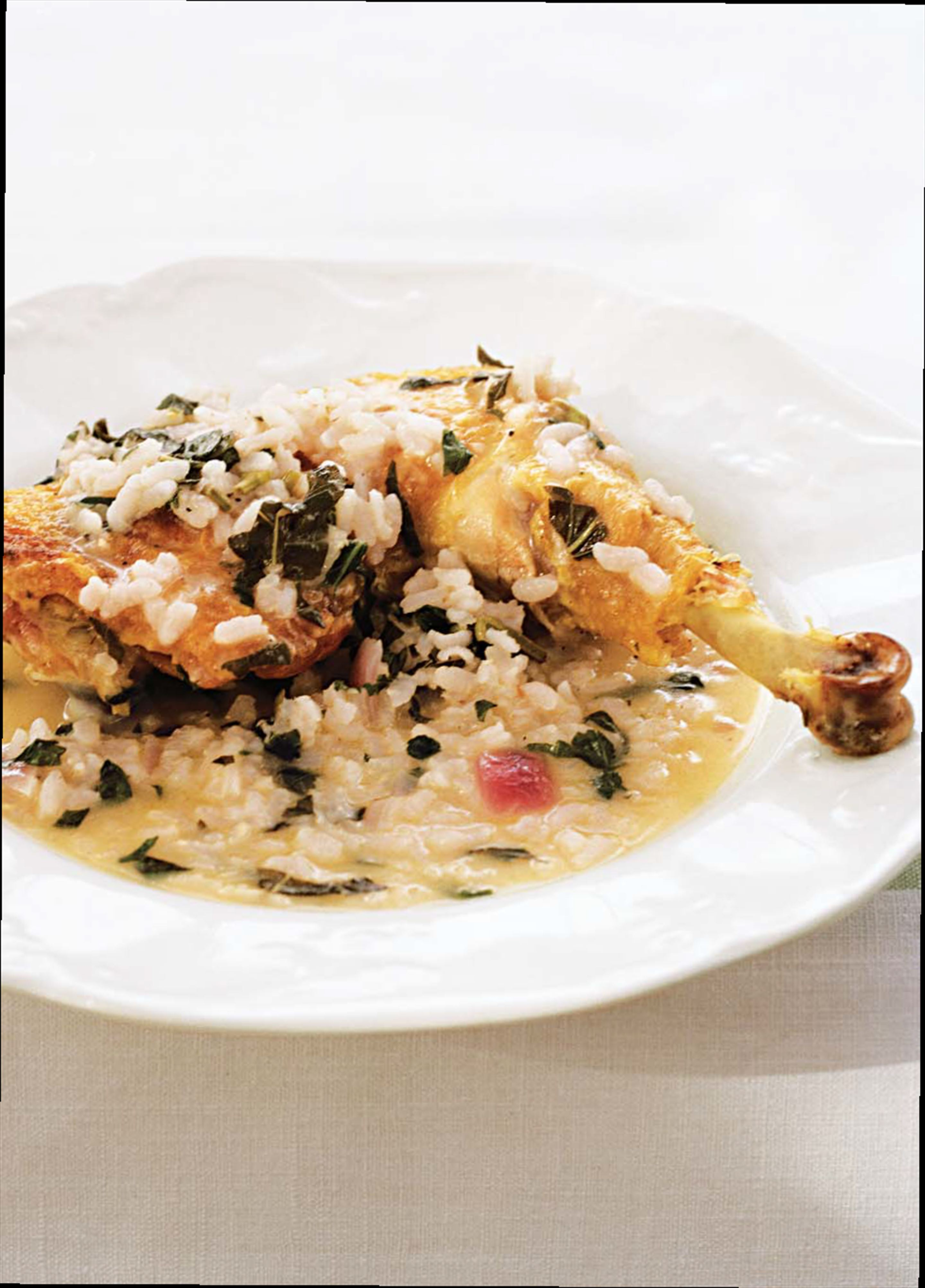 Chicken with rice and basil