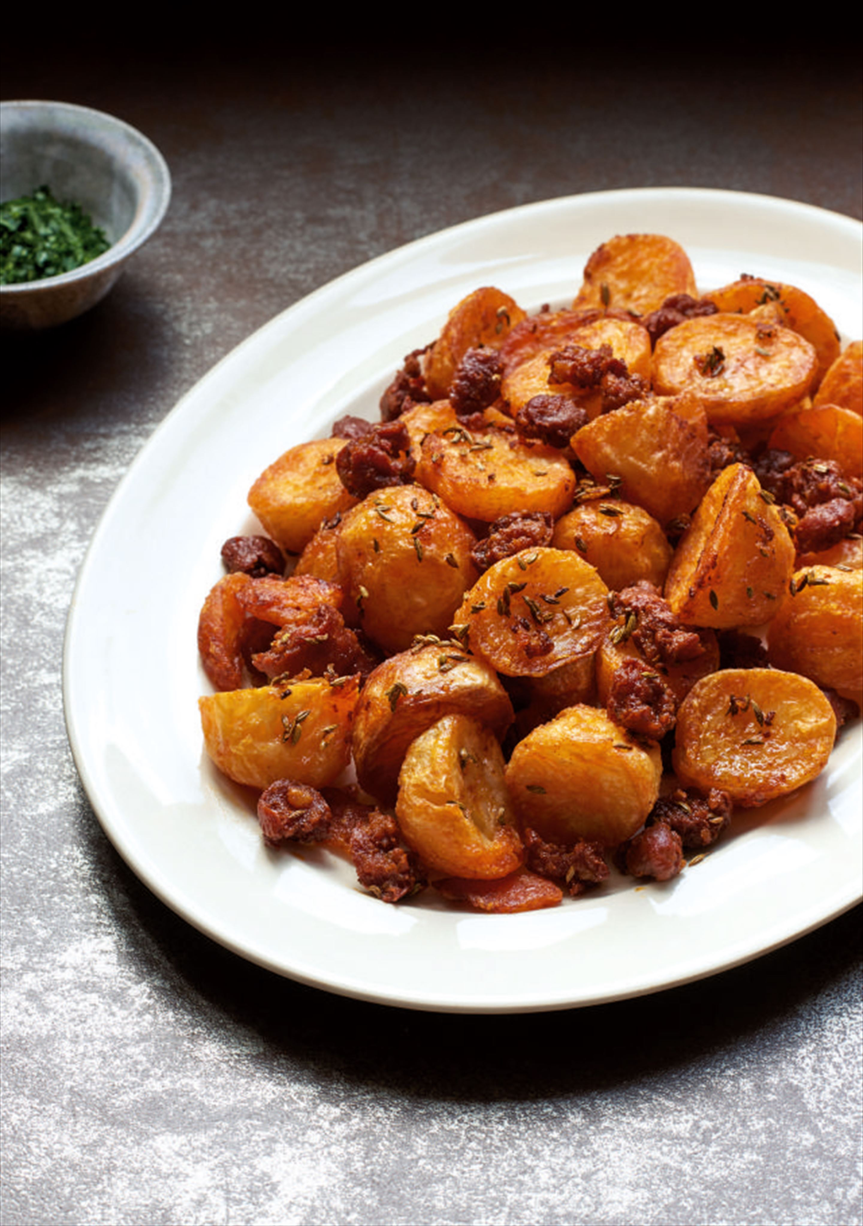 Chorizo roast potatoes