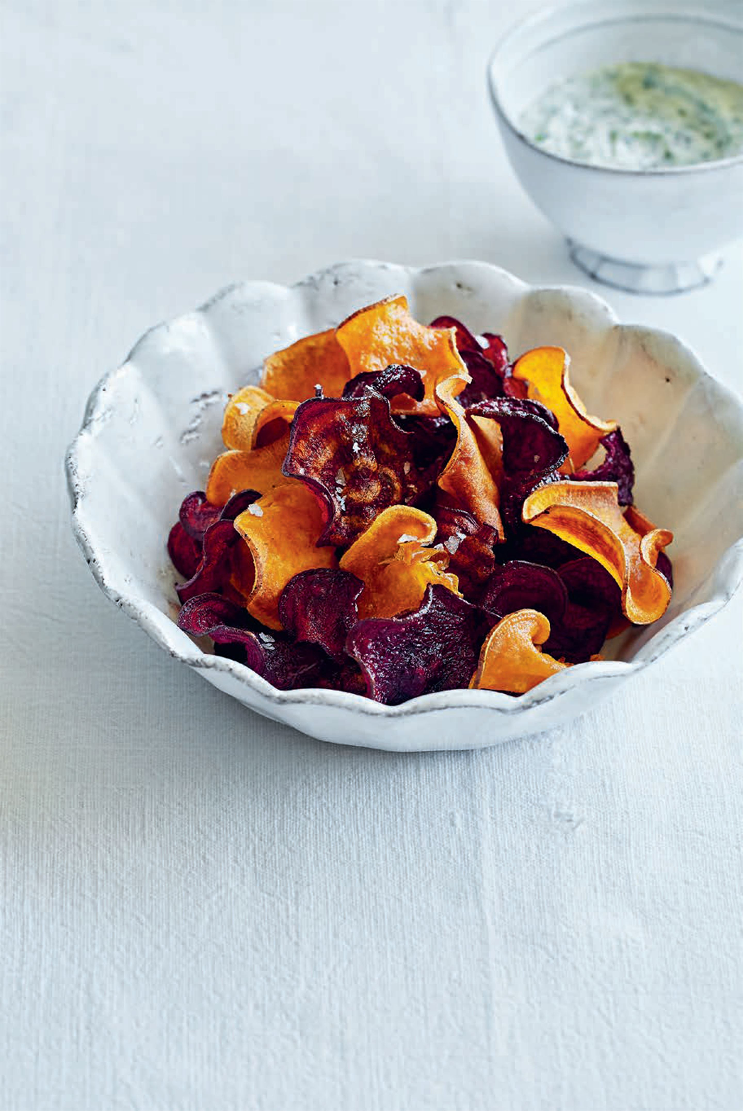 Beetroot & sweet potato crisps with coriander mayonnaise