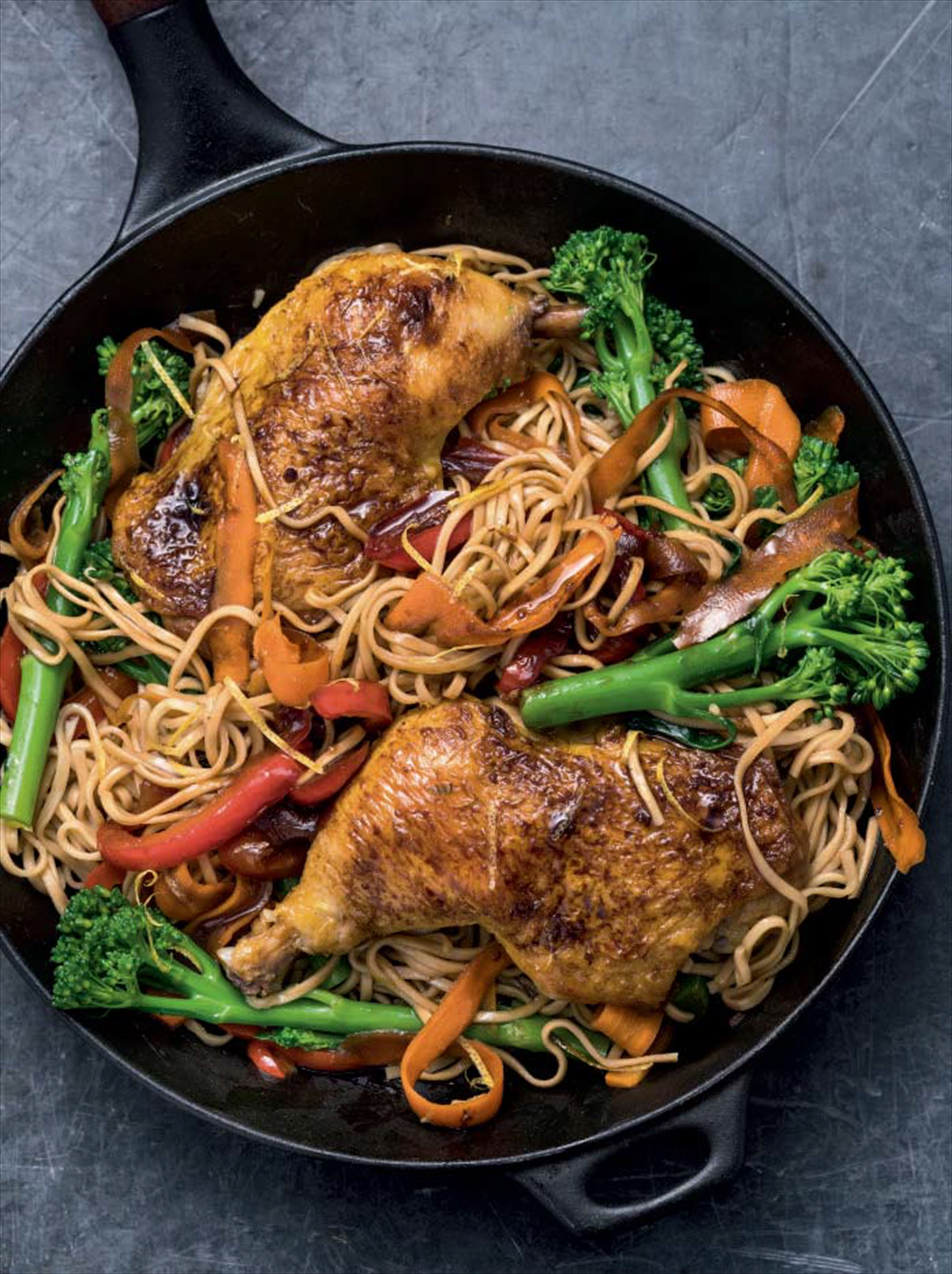 Sticky soy, honey & ginger chicken with noodles