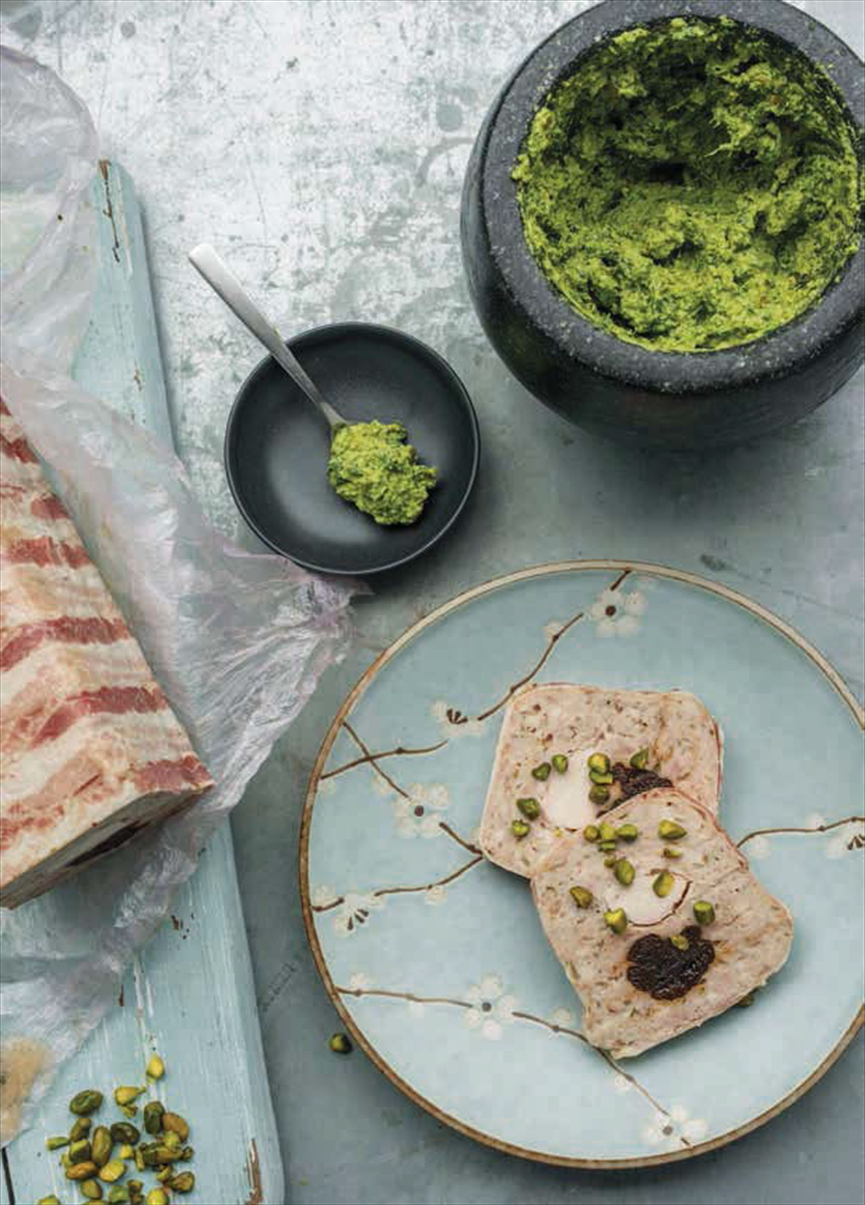 Chicken terrine with pistachio pesto