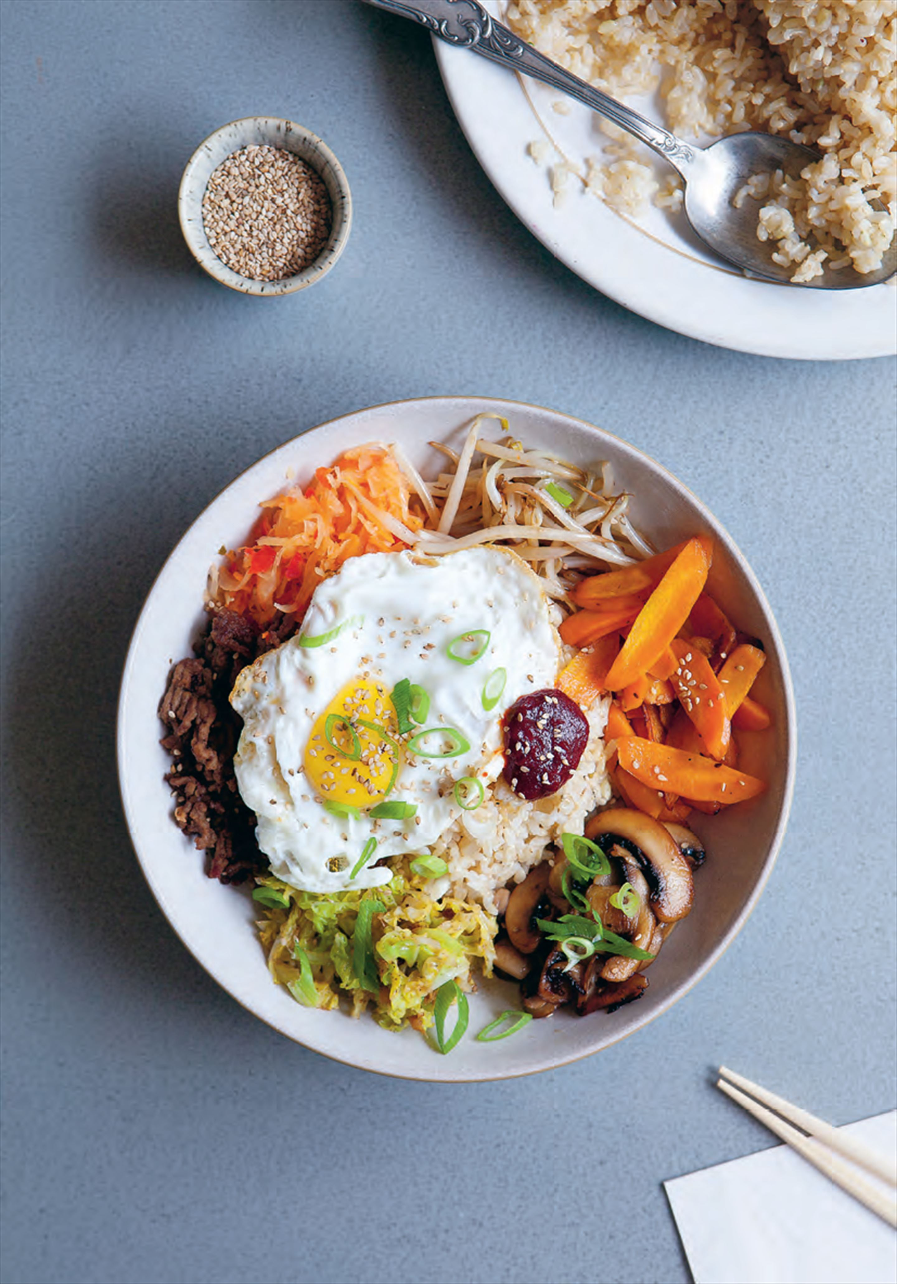 Brown rice bibimbap