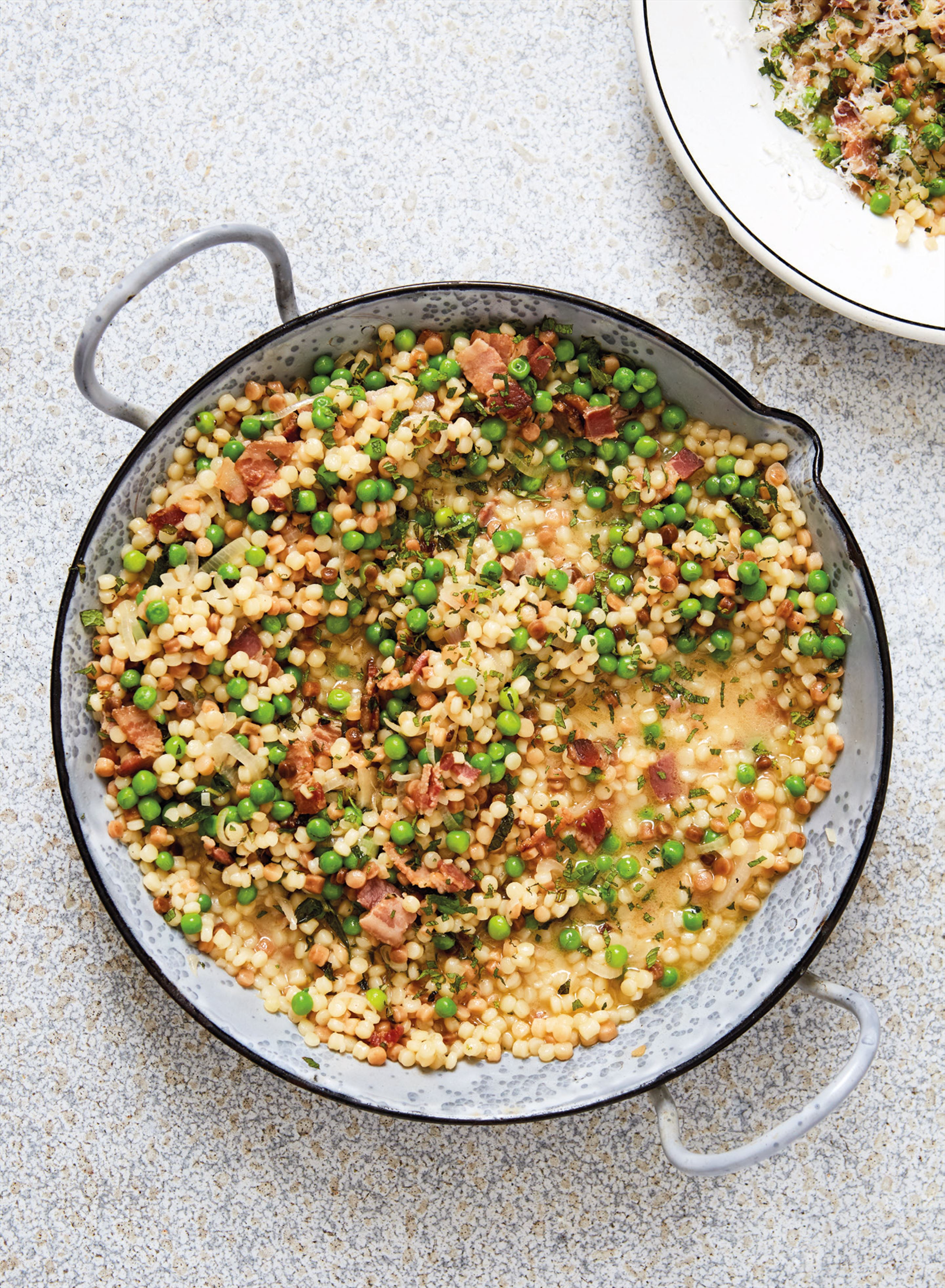 Fregola with bacon and peas
