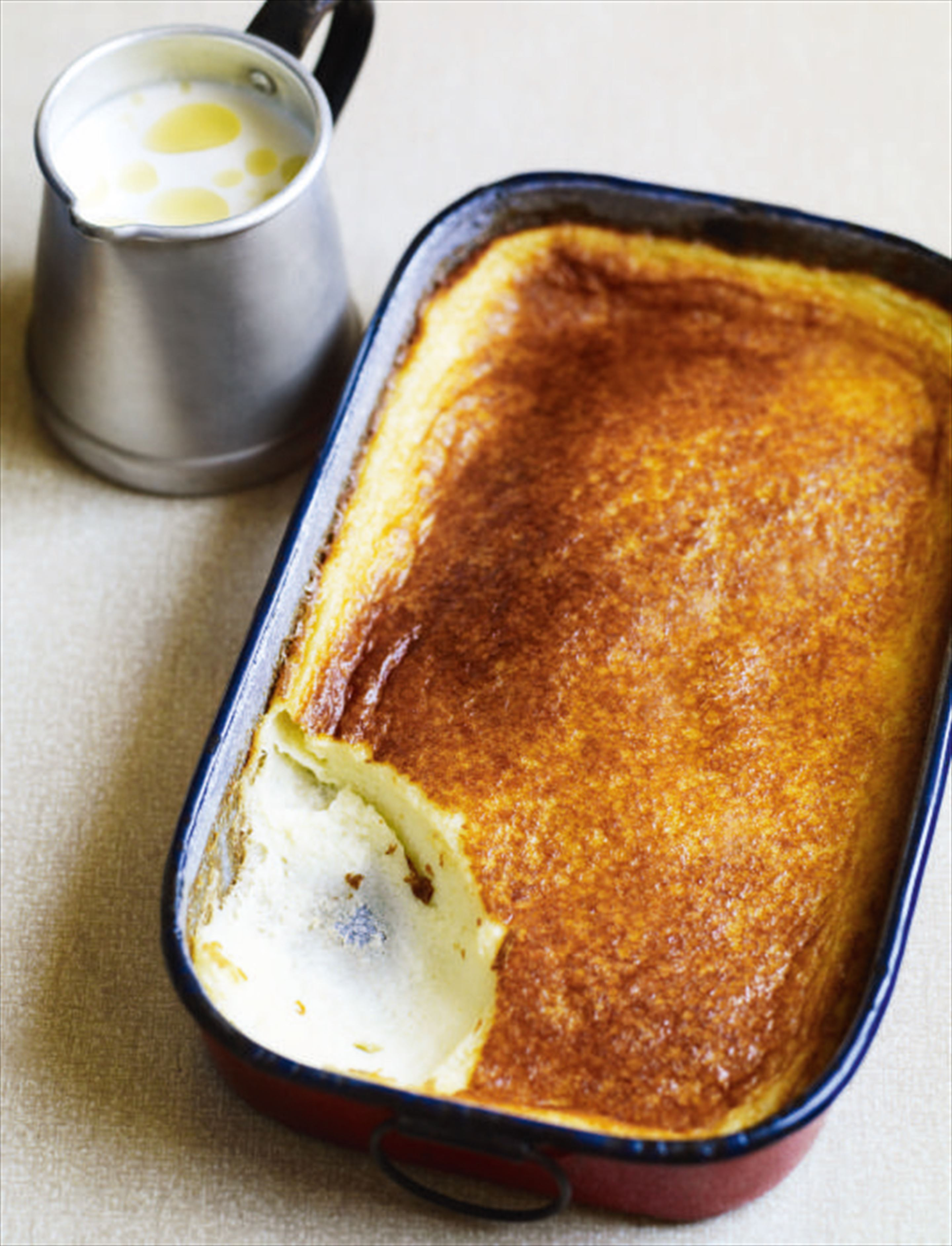 Baked custard with rice milk