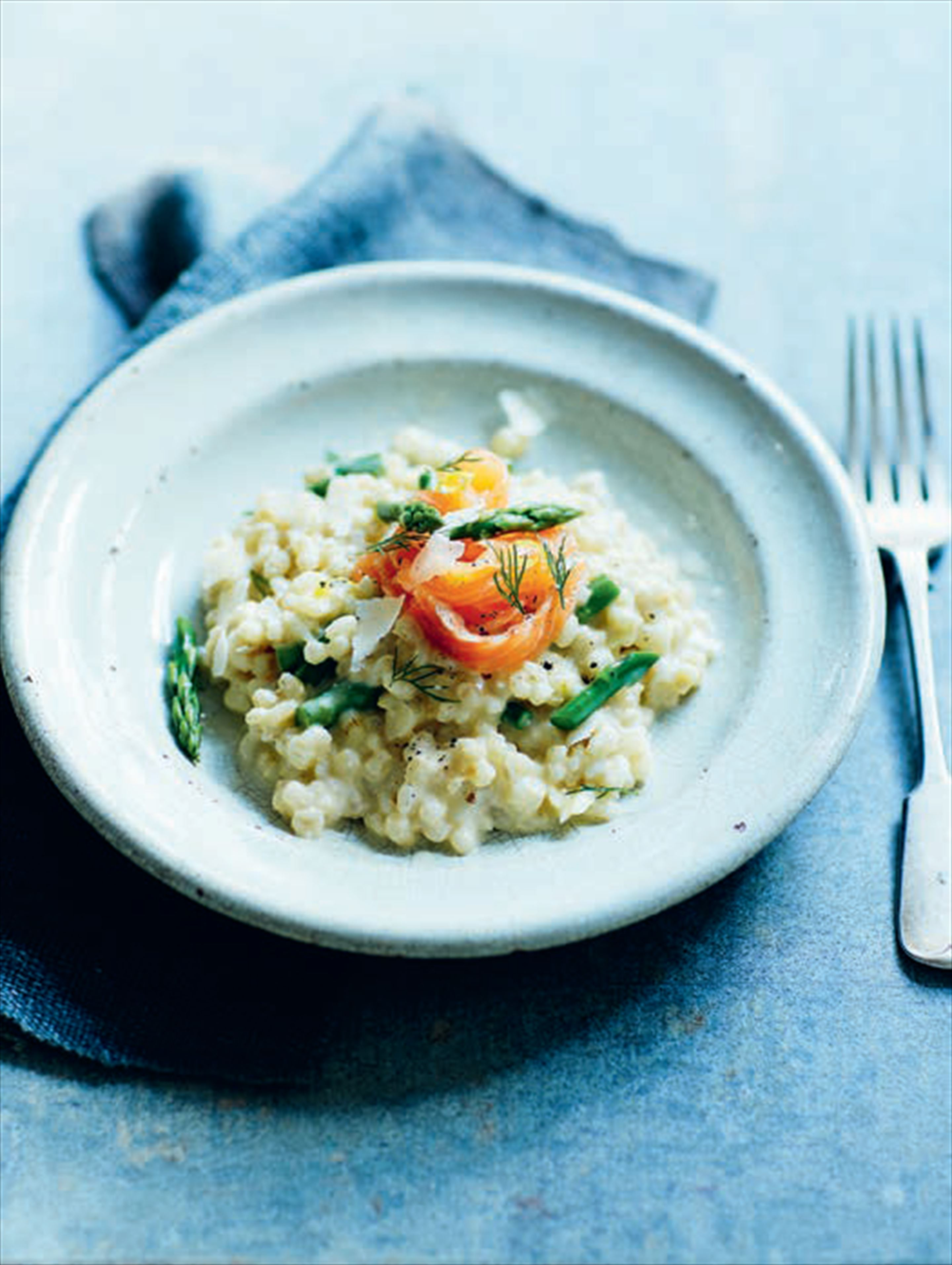 Creamy pearl barley risotto with smoked garlic, asparagus & quick cured salmon