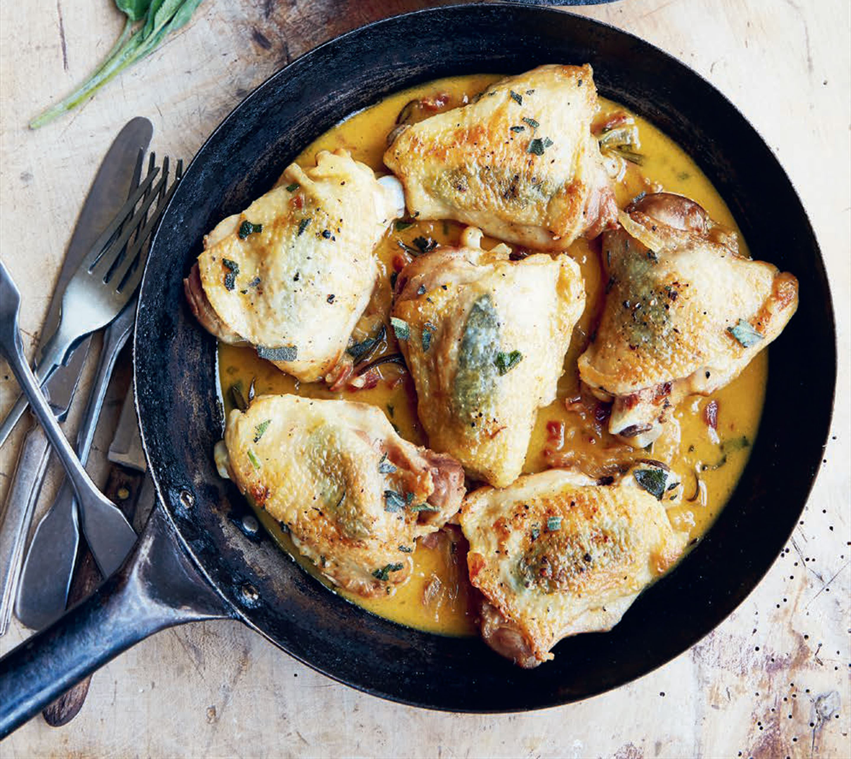 Fricassee of chicken with sage & onions
