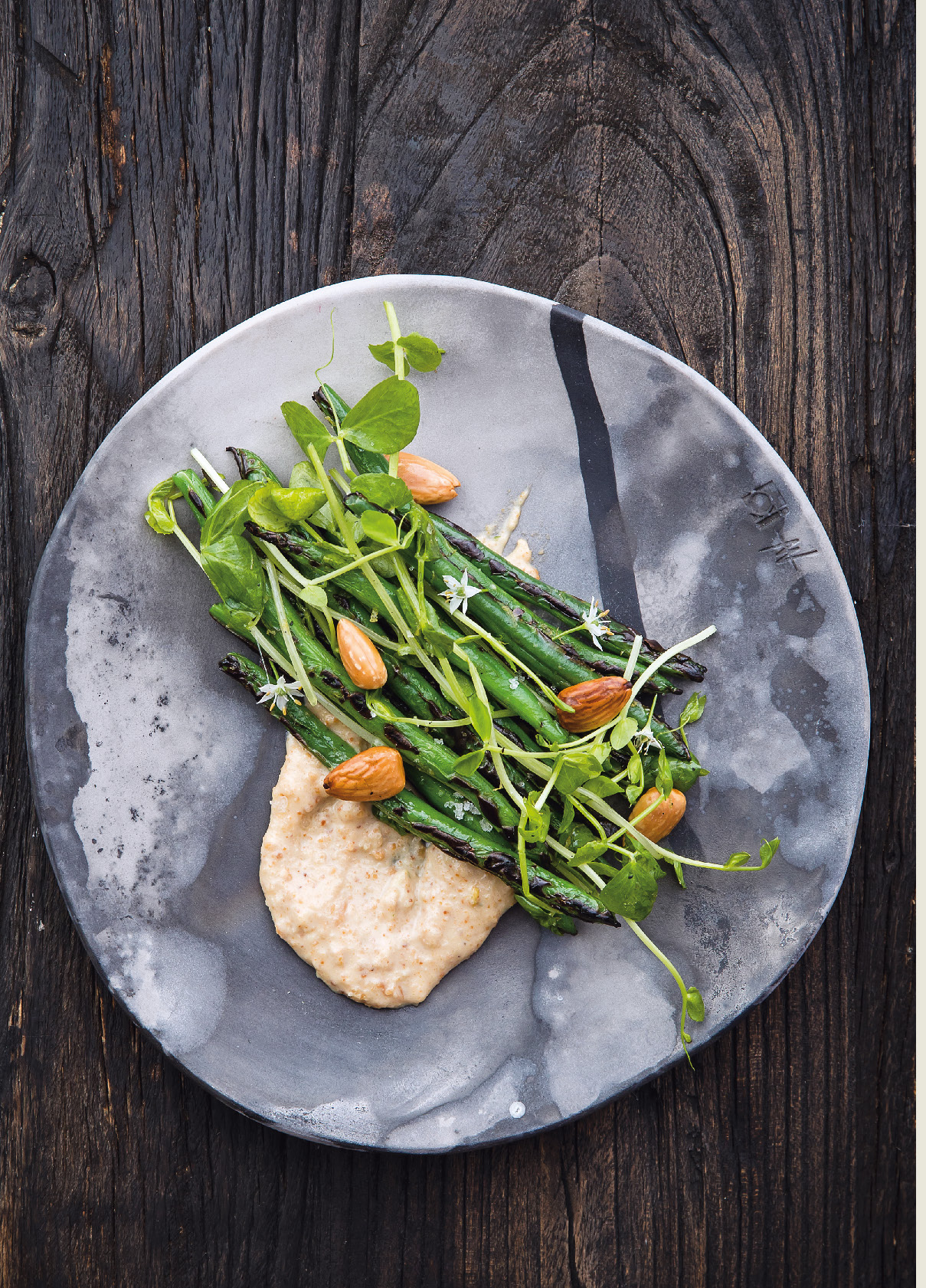 Green beans, roasted almond cream