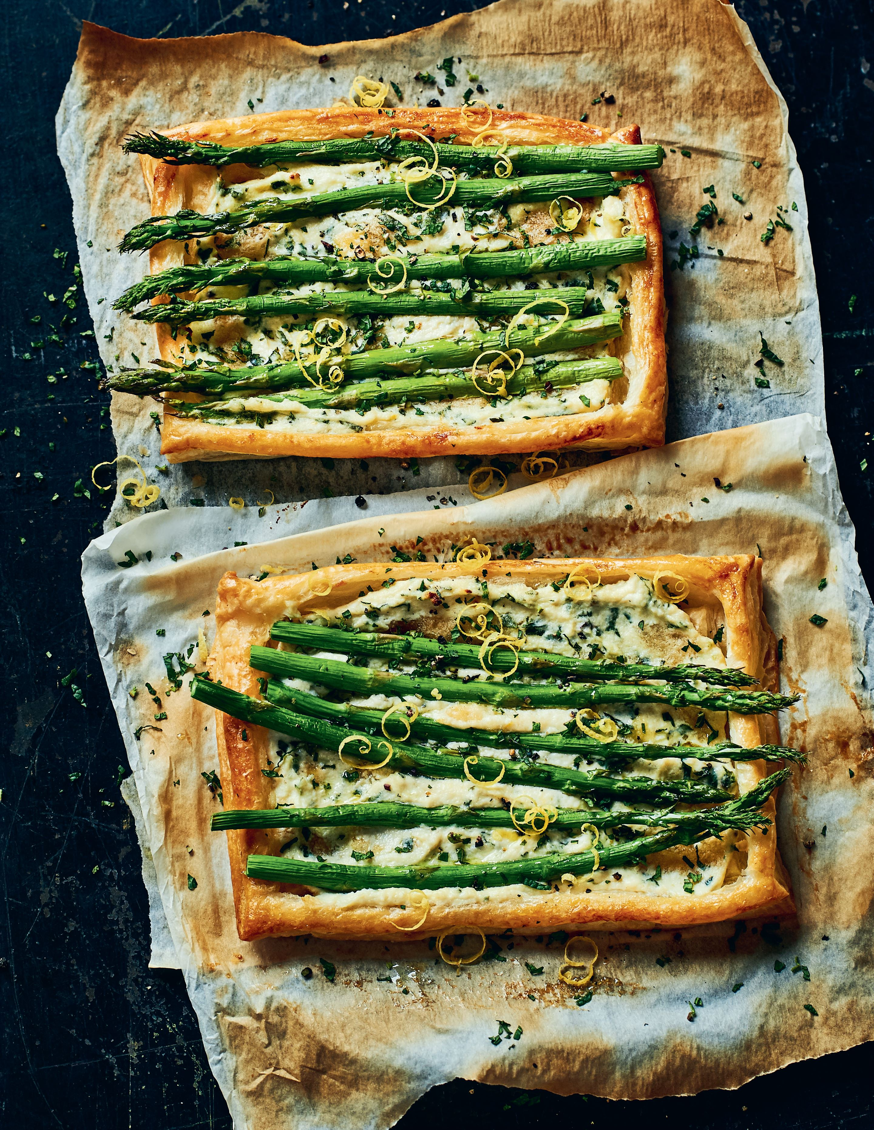 Ricotta, asparagus and mint tartlets