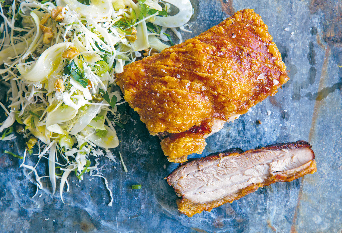 Roasted pork with Tuscan slaw and crackling