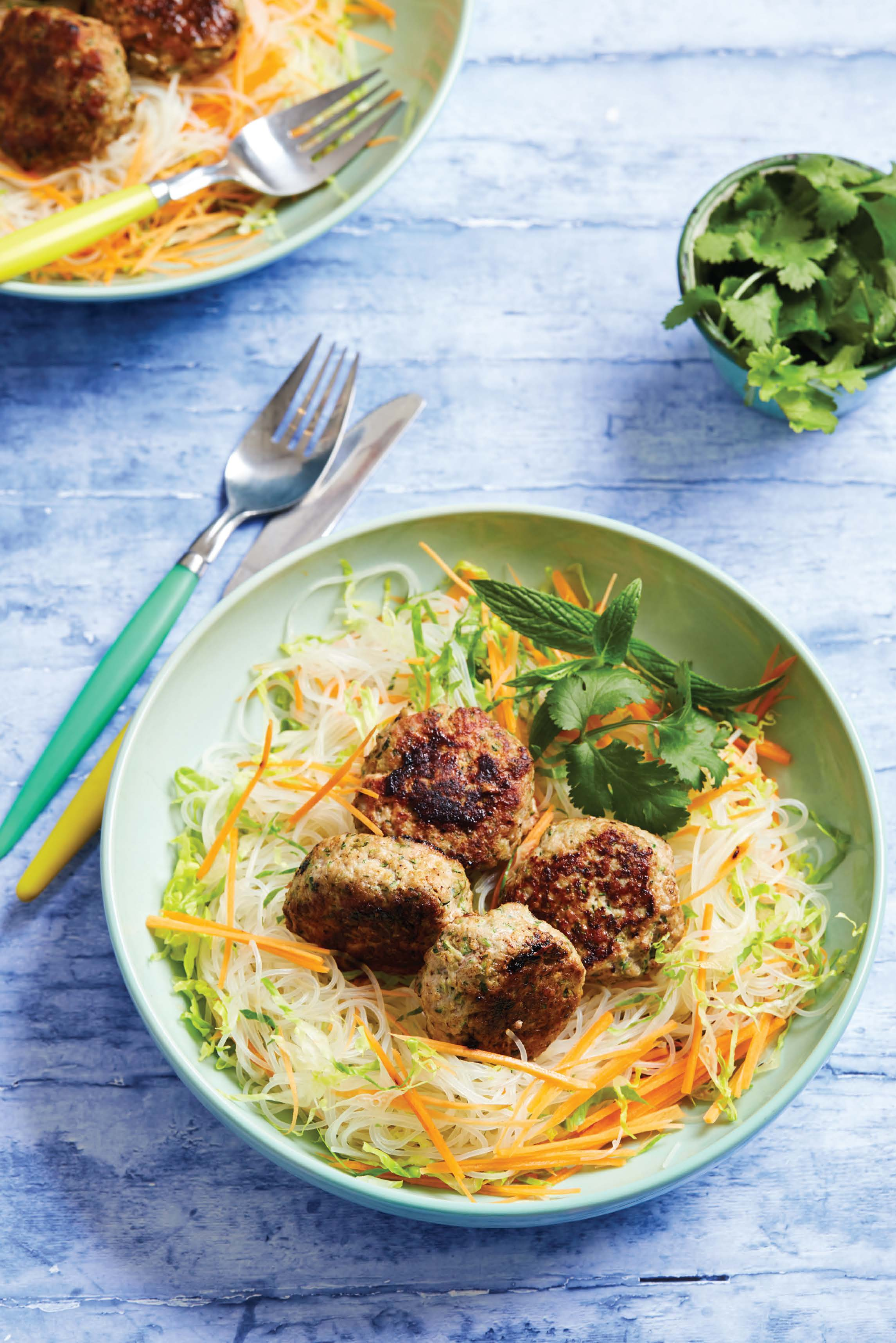 Thai pork patties with noodles