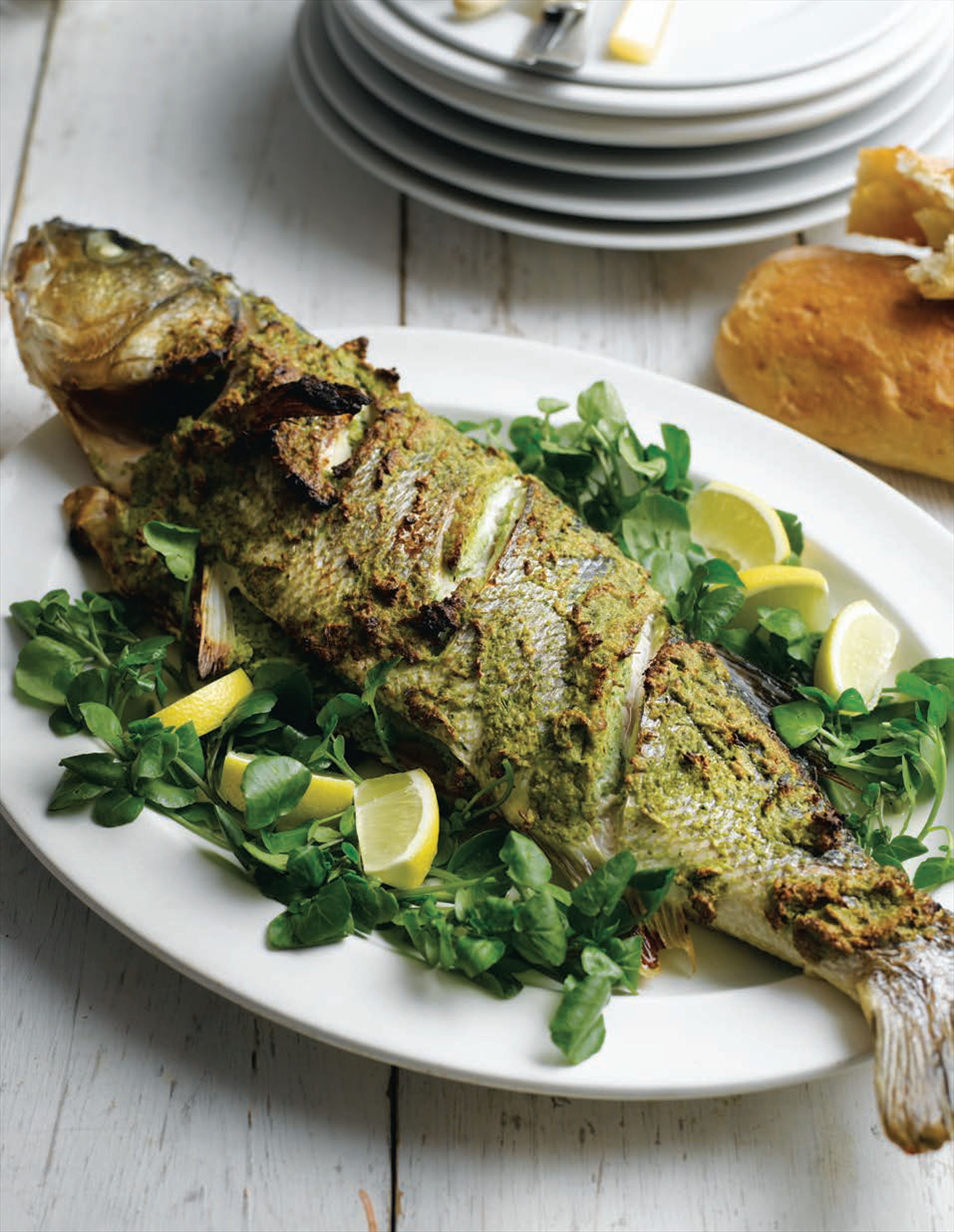 Roast sea bass with a walnut pesto