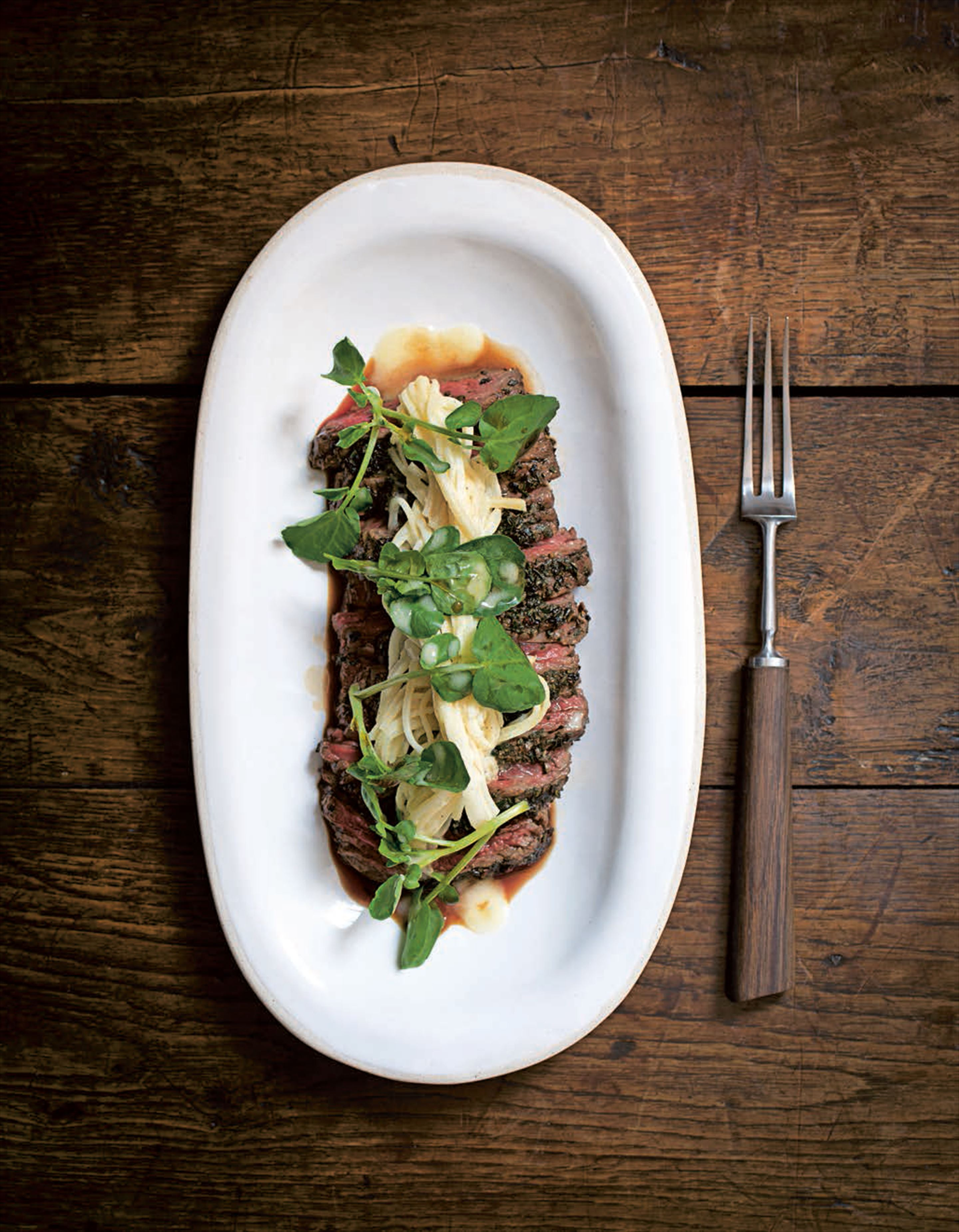 Garlic herb beef with kohlrabi remoulade and watercress