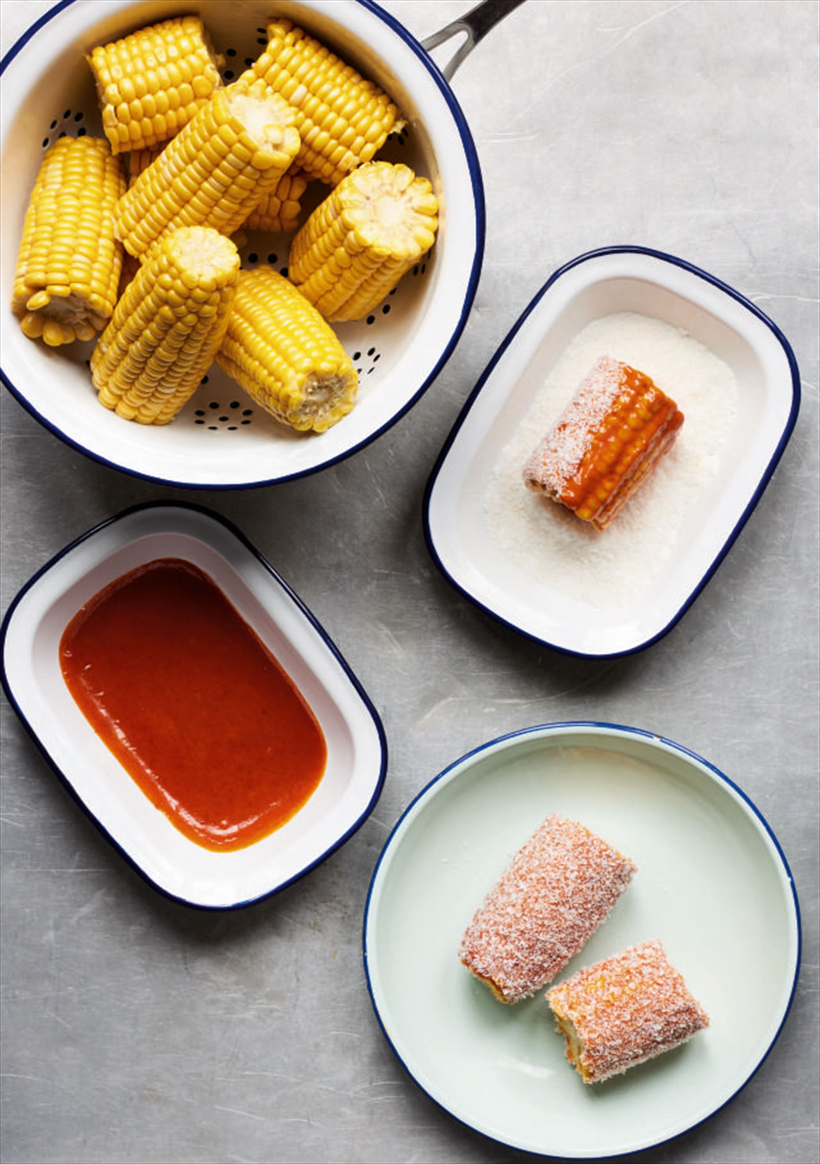 Gochujang mayo and coconut corn on the cob