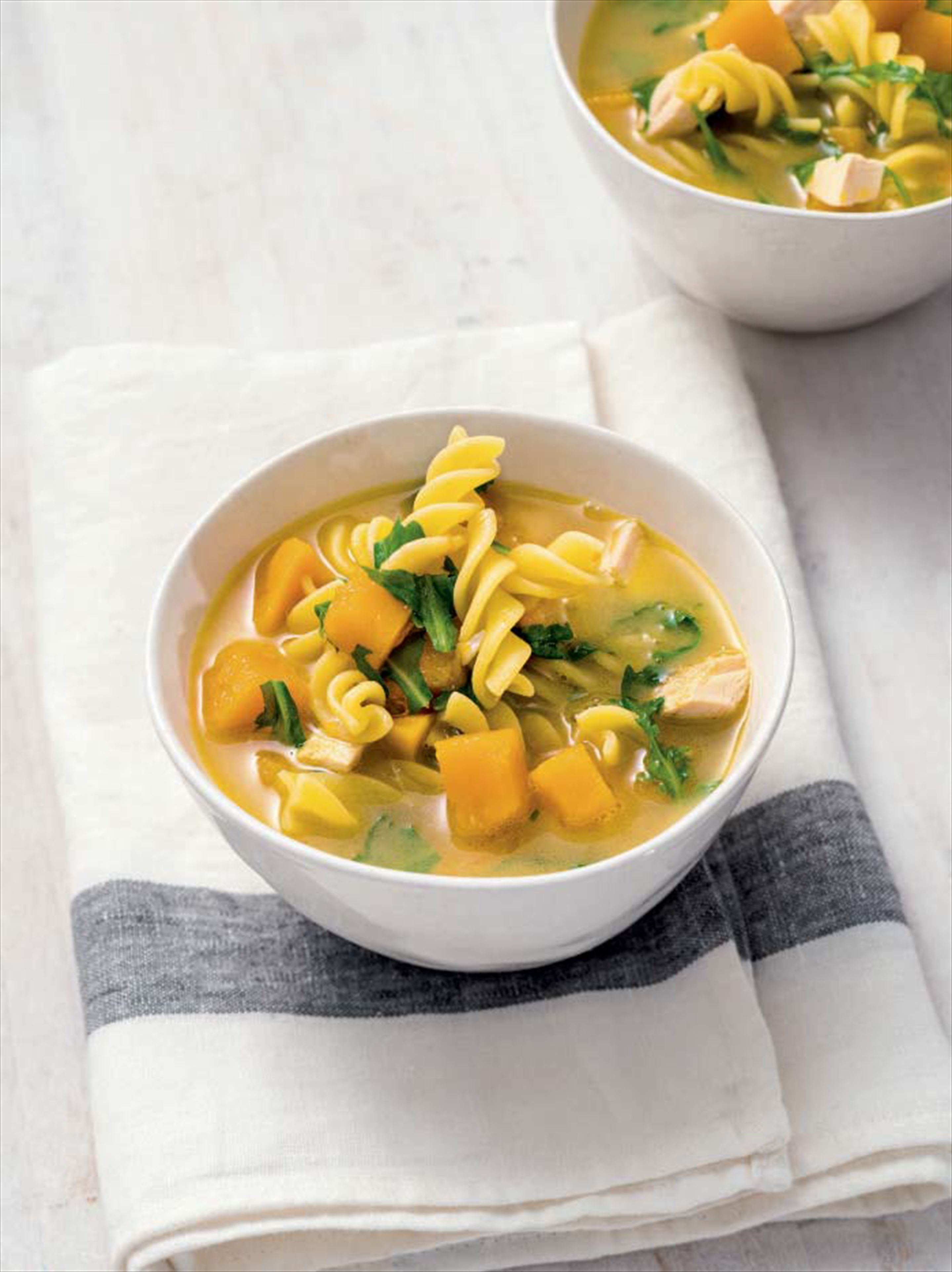 Buttery chicken, pumpkin, pasta & rocket broth