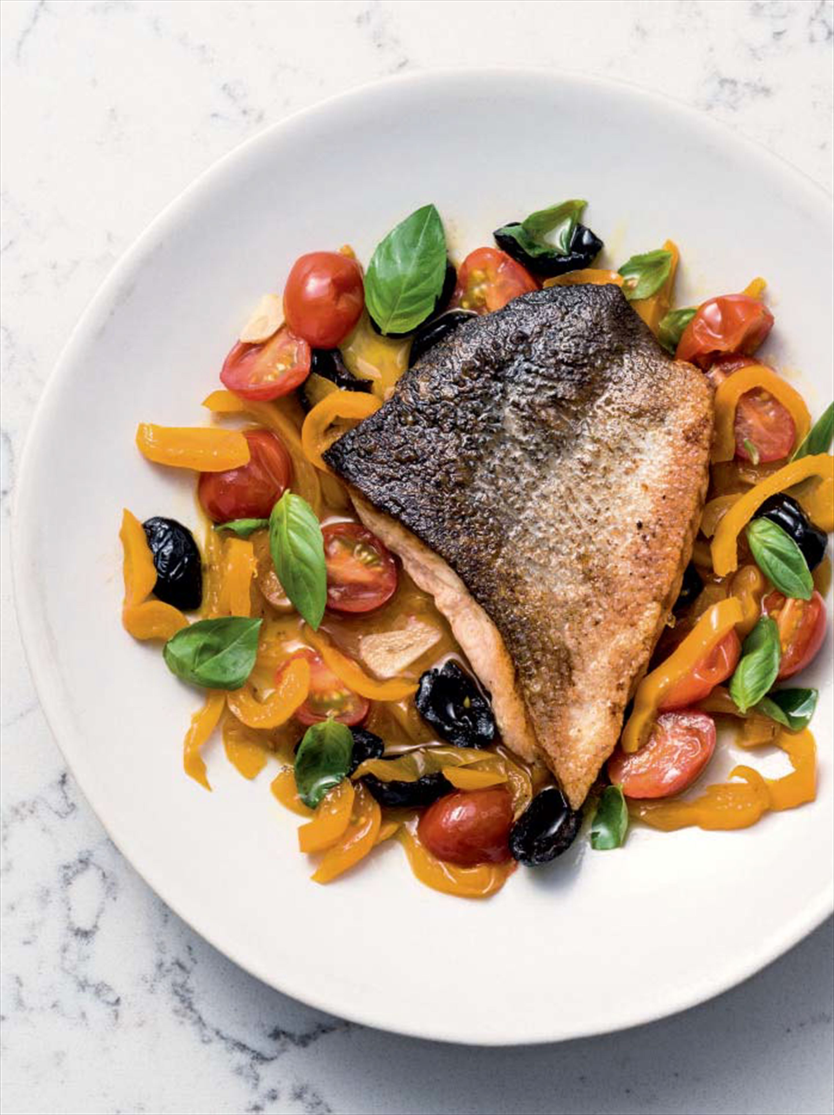 Crisp-skinned salmon with pepper chutney & olives