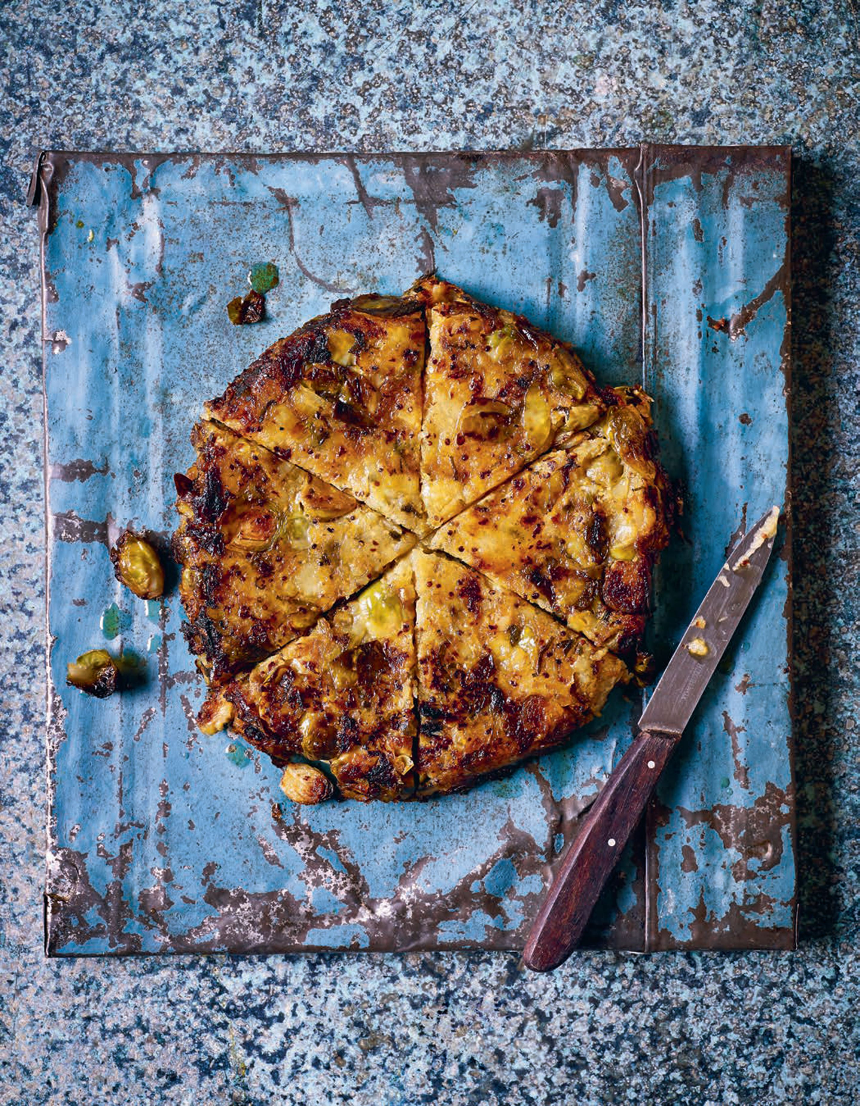 Brussels sprout, leek and potato cake
