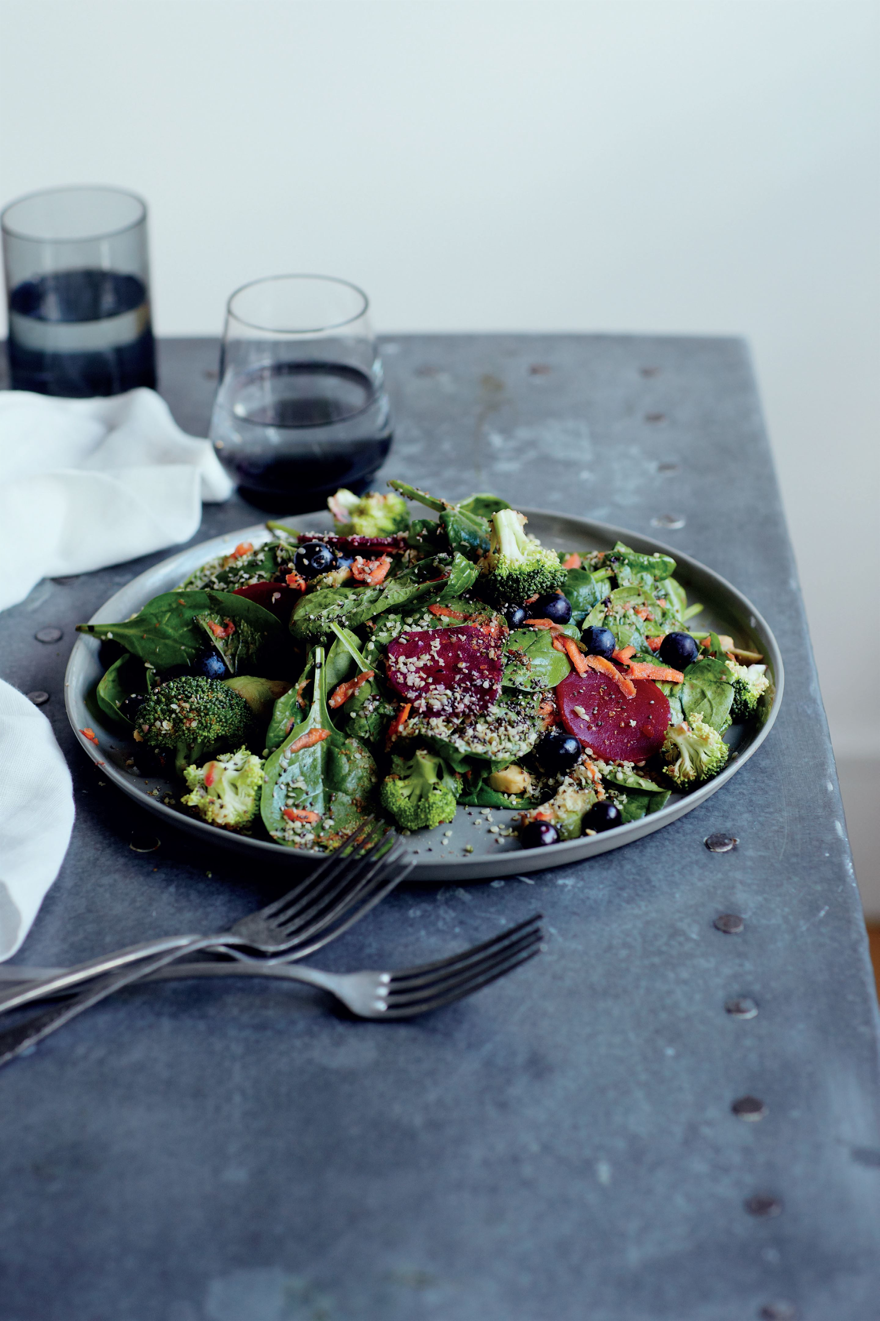 Ultimate superfood salad with hemp and blueberries
