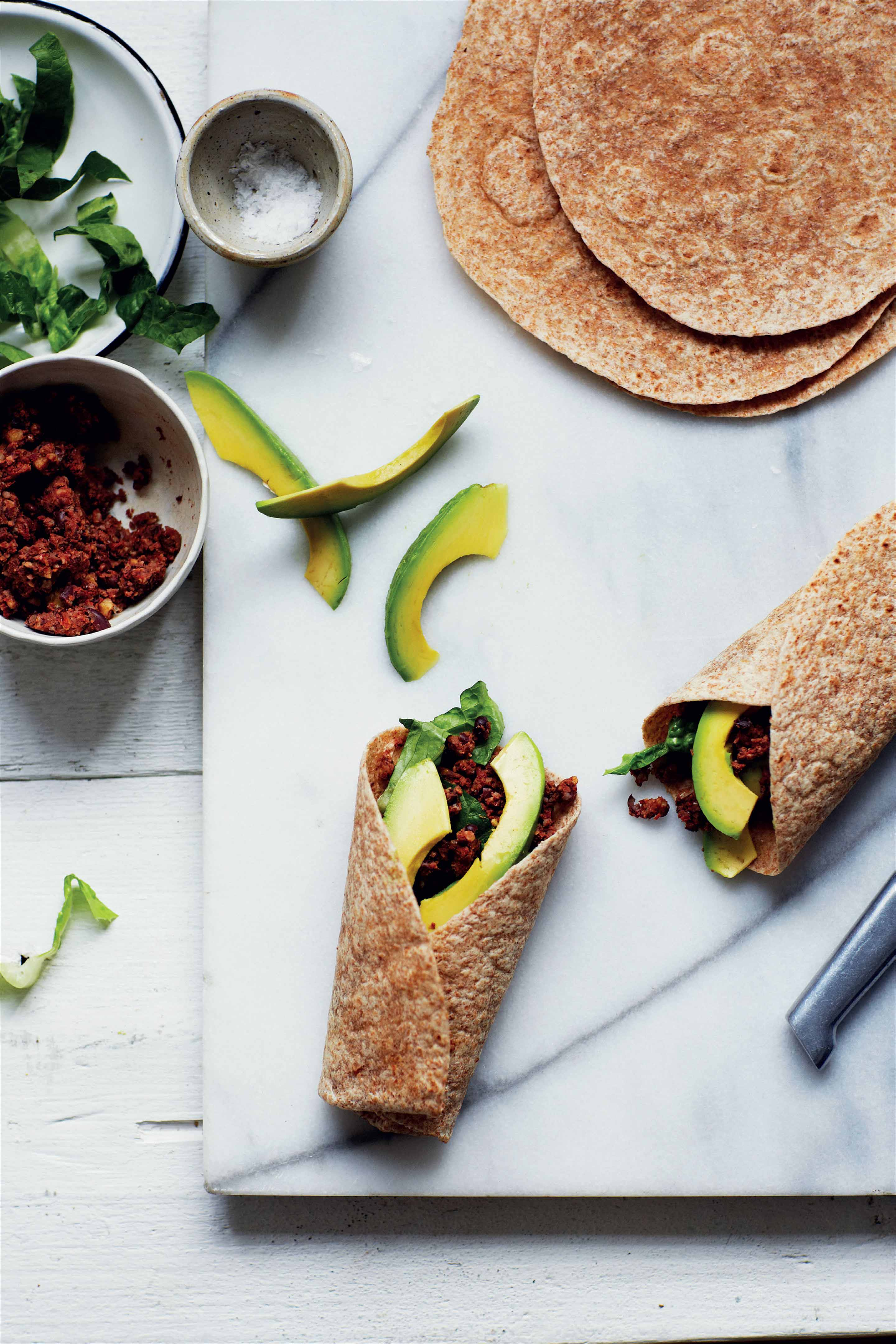 Walnut and black bean wraps