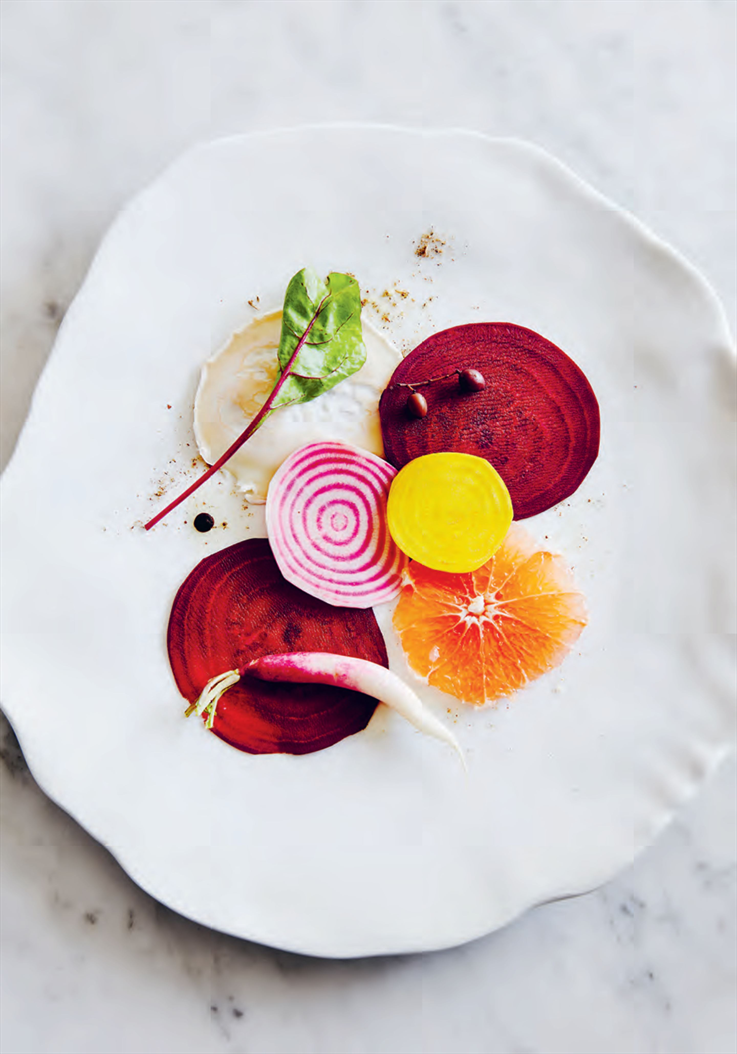 Beetroot, pink grapefruit & goat's cheese carpaccio