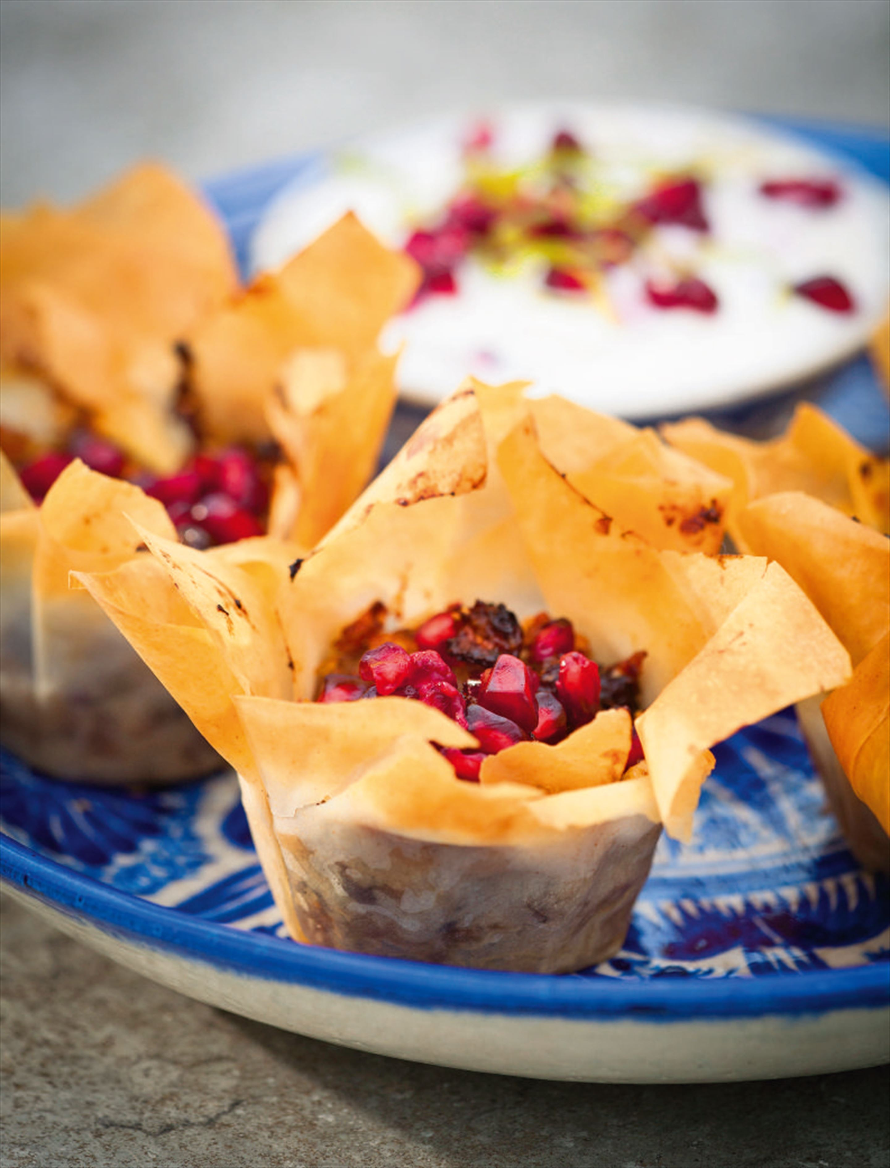 Filo mincemeat baskets with pomegranate