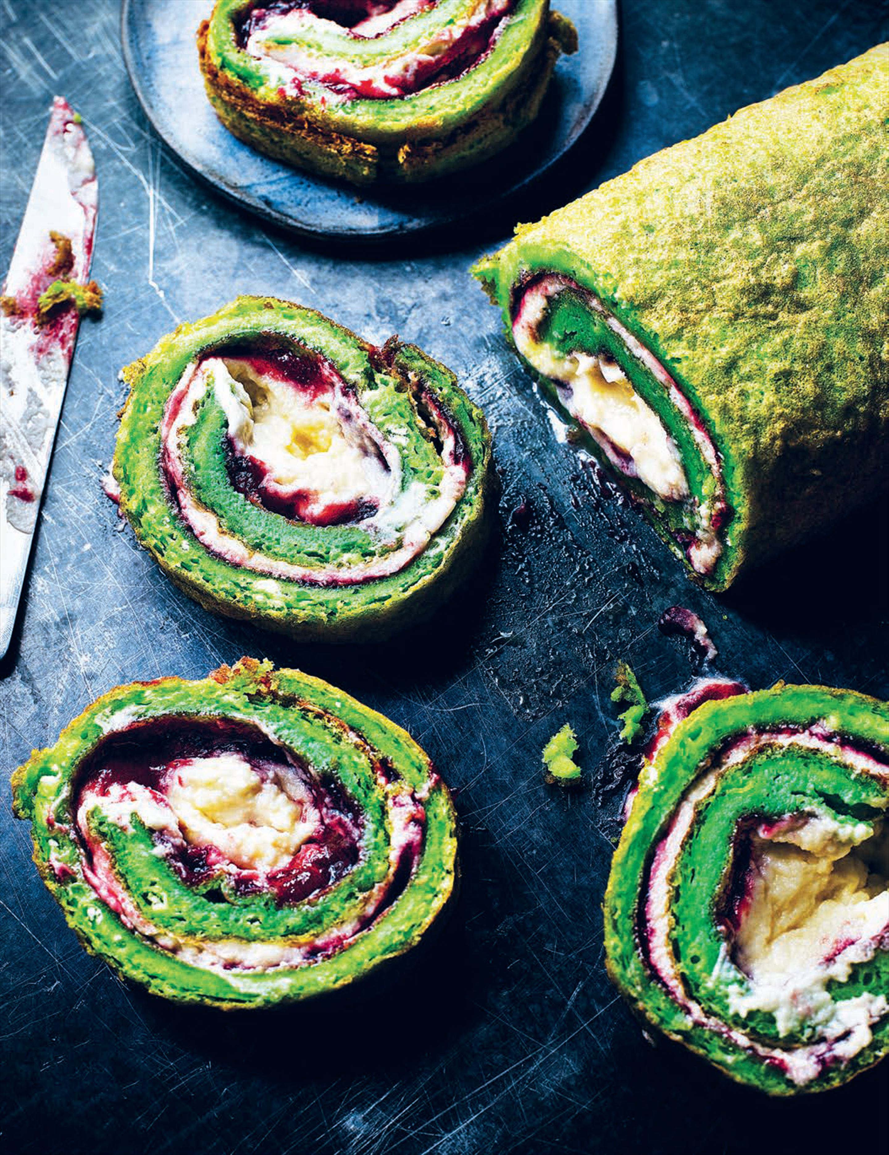 Bright green pandan swiss roll